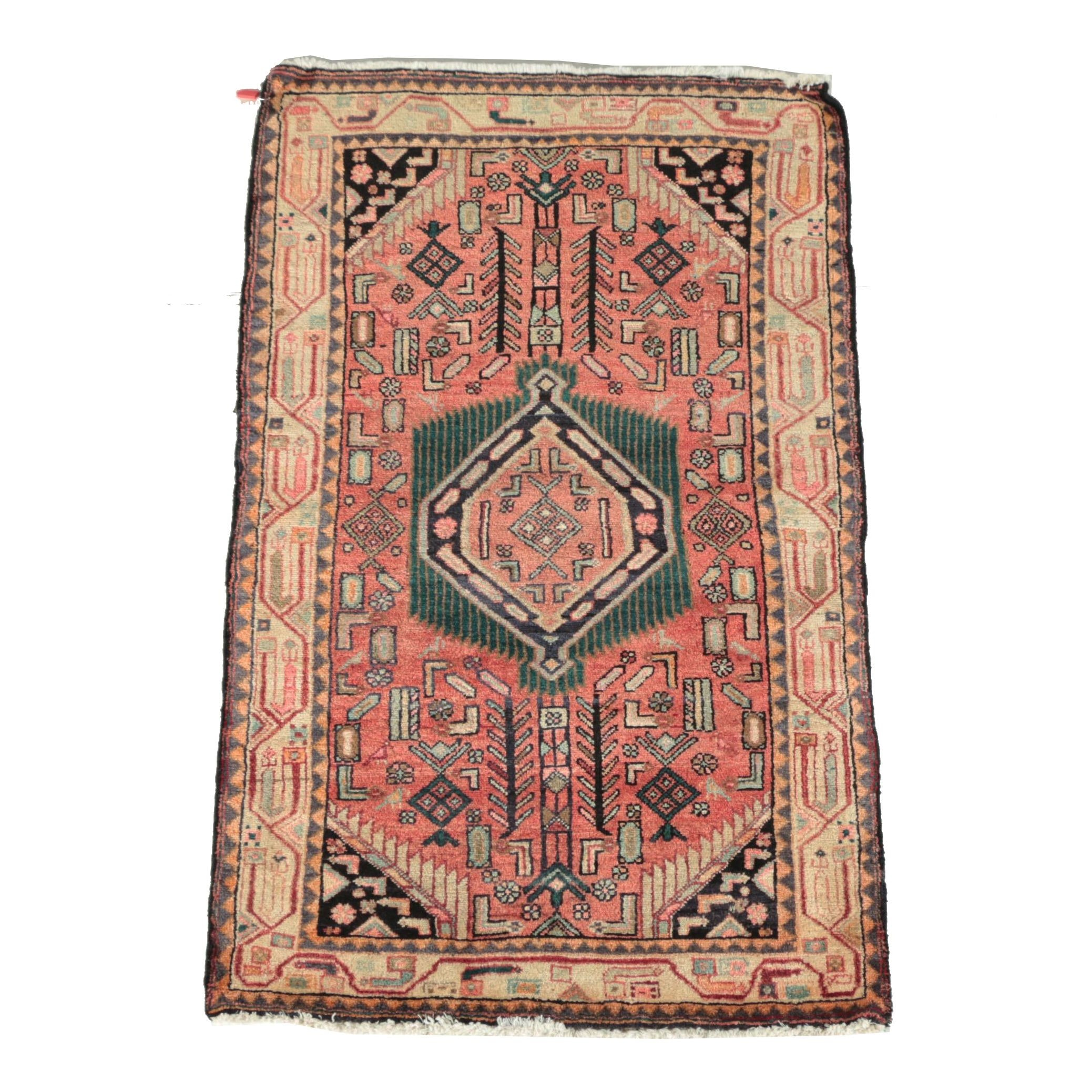 Hand-Knotted Persian Hamadan Wool Area Rug