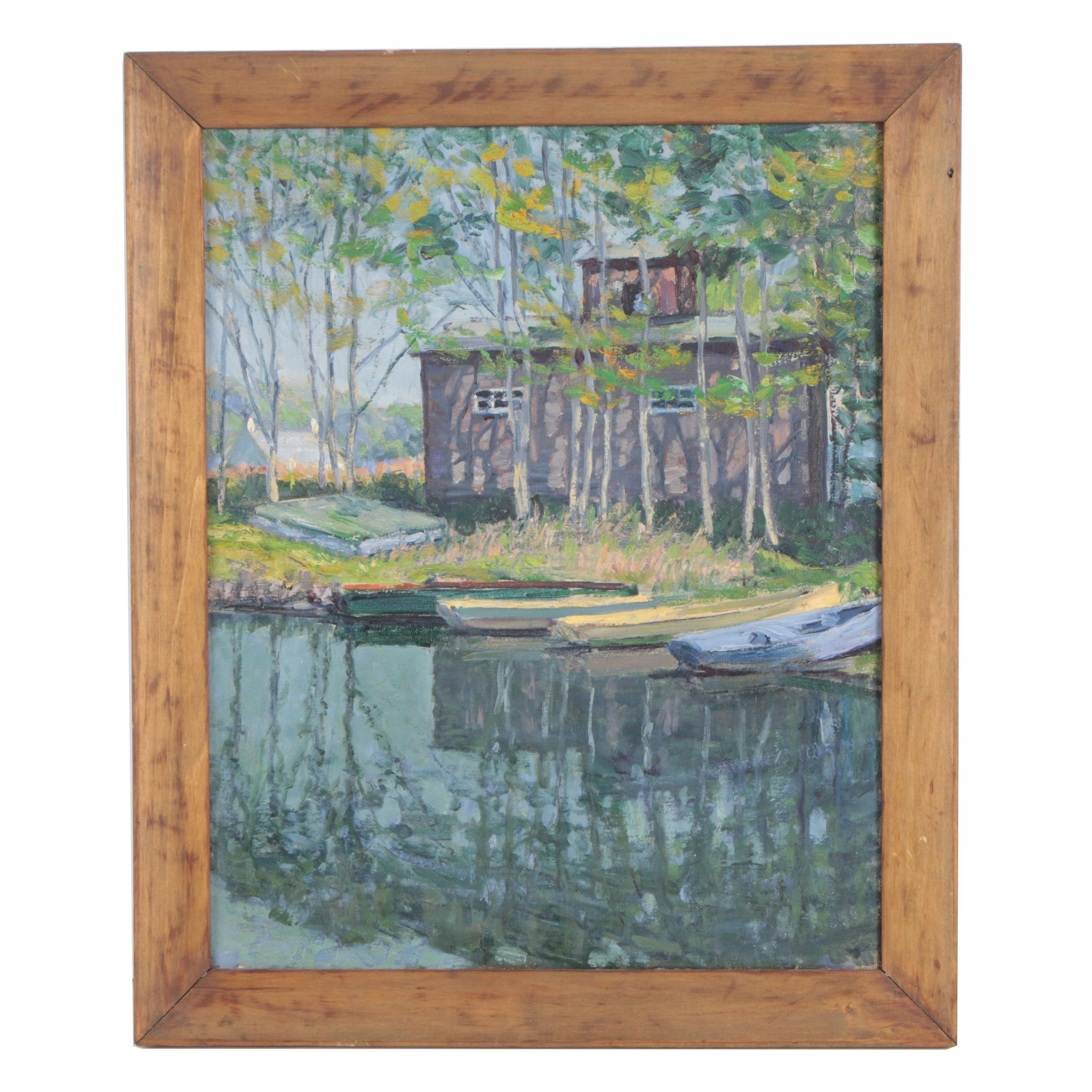 """Mid 20th Century Oil Painting """"Boat House (Little Neck Pond)"""""""