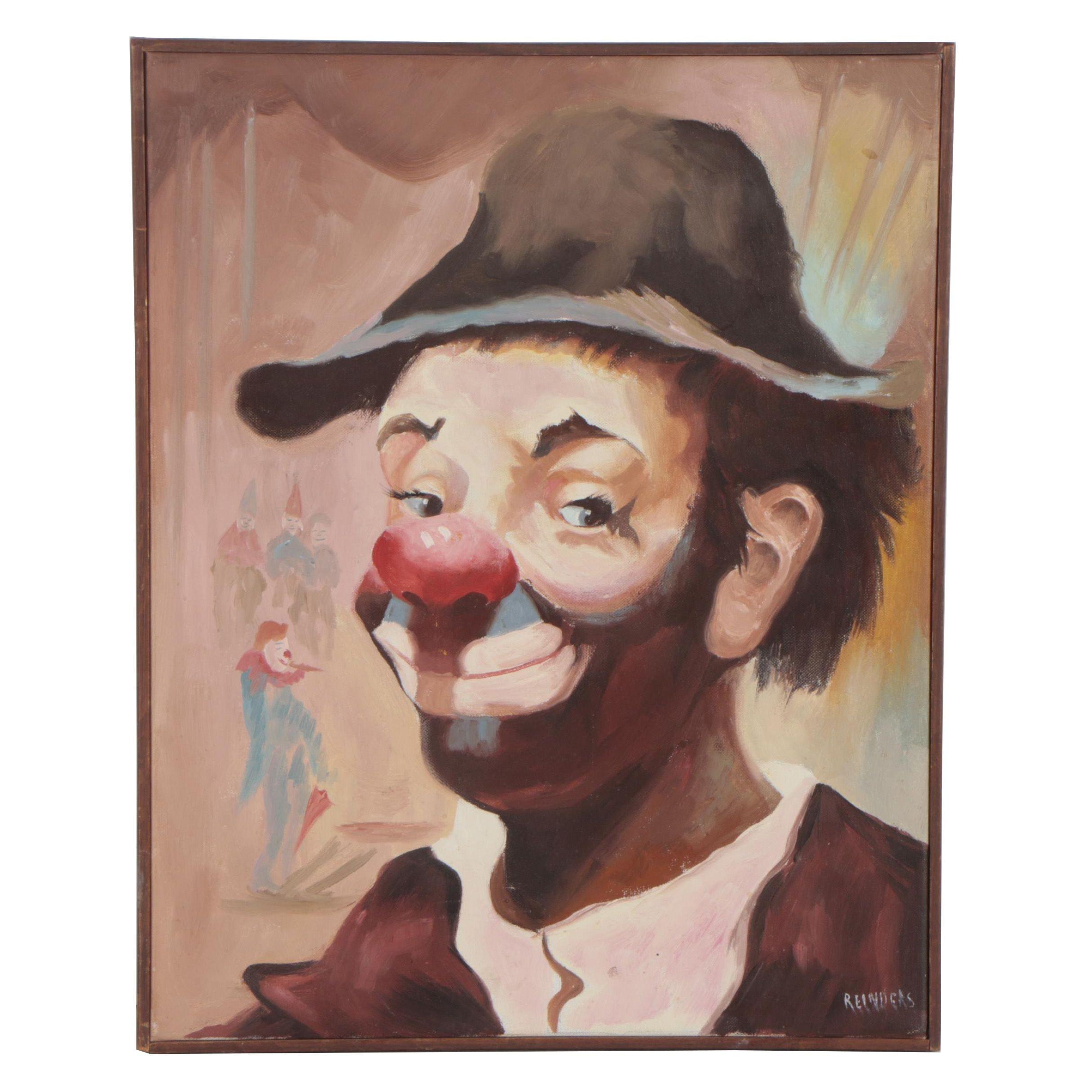 Reinders Oil Painting Portrait of Clown