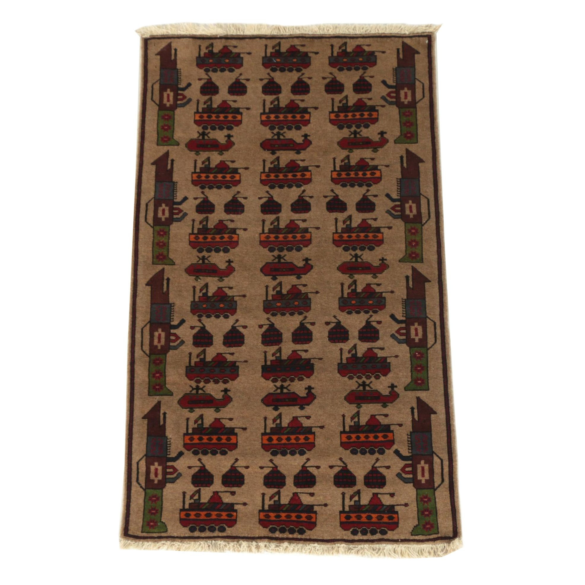 """Hand-Knotted Afghani """"War"""" Wool Accent Rug"""