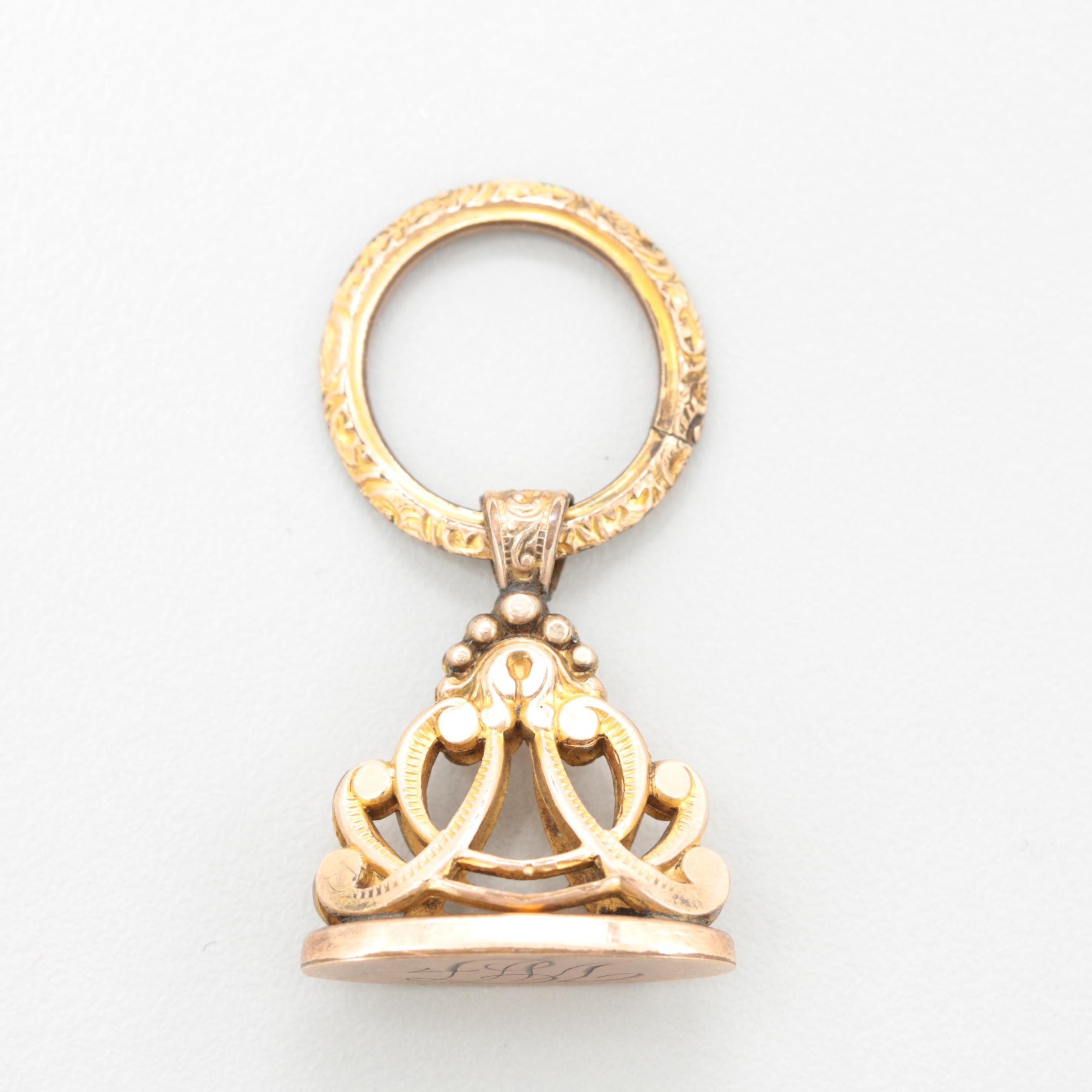 Victorian Gold Tone Watch Fob Seal