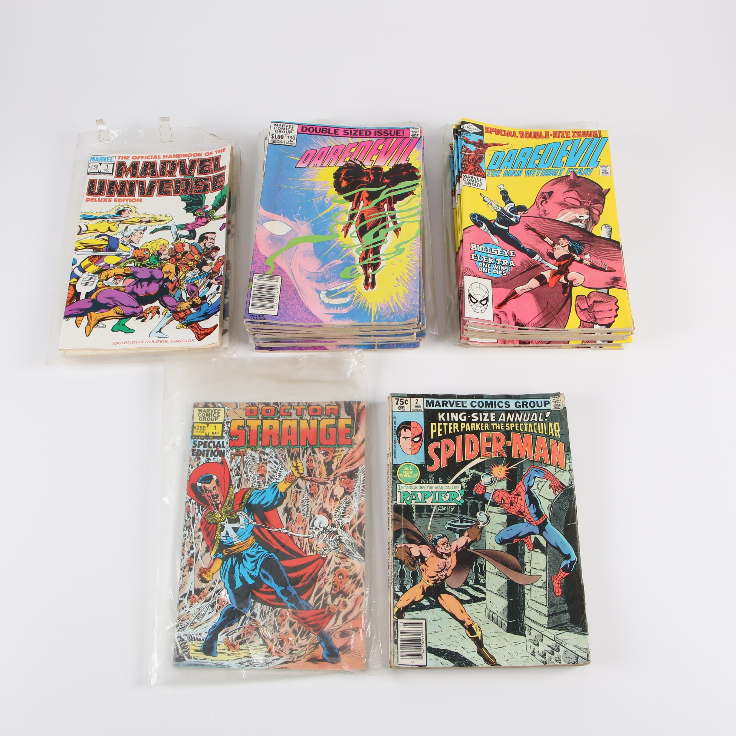 "Early 1980s DC Comic Books with ""Daredevil"", ""Doctor Strange"", and ""Spider-Man"""