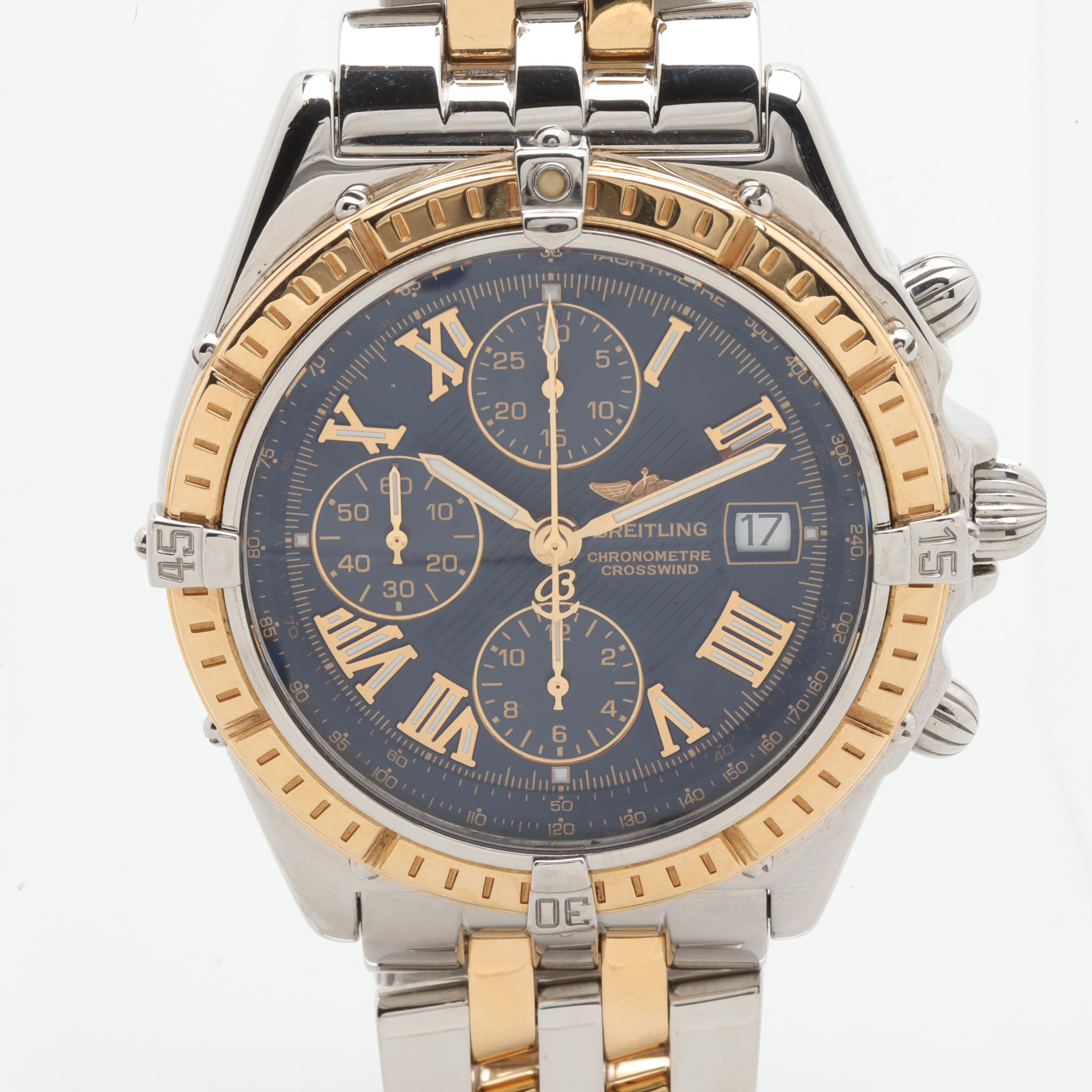 Breitling Crosswind Stainless Steel and 18K Yellow Gold Chronograph Wristwatch