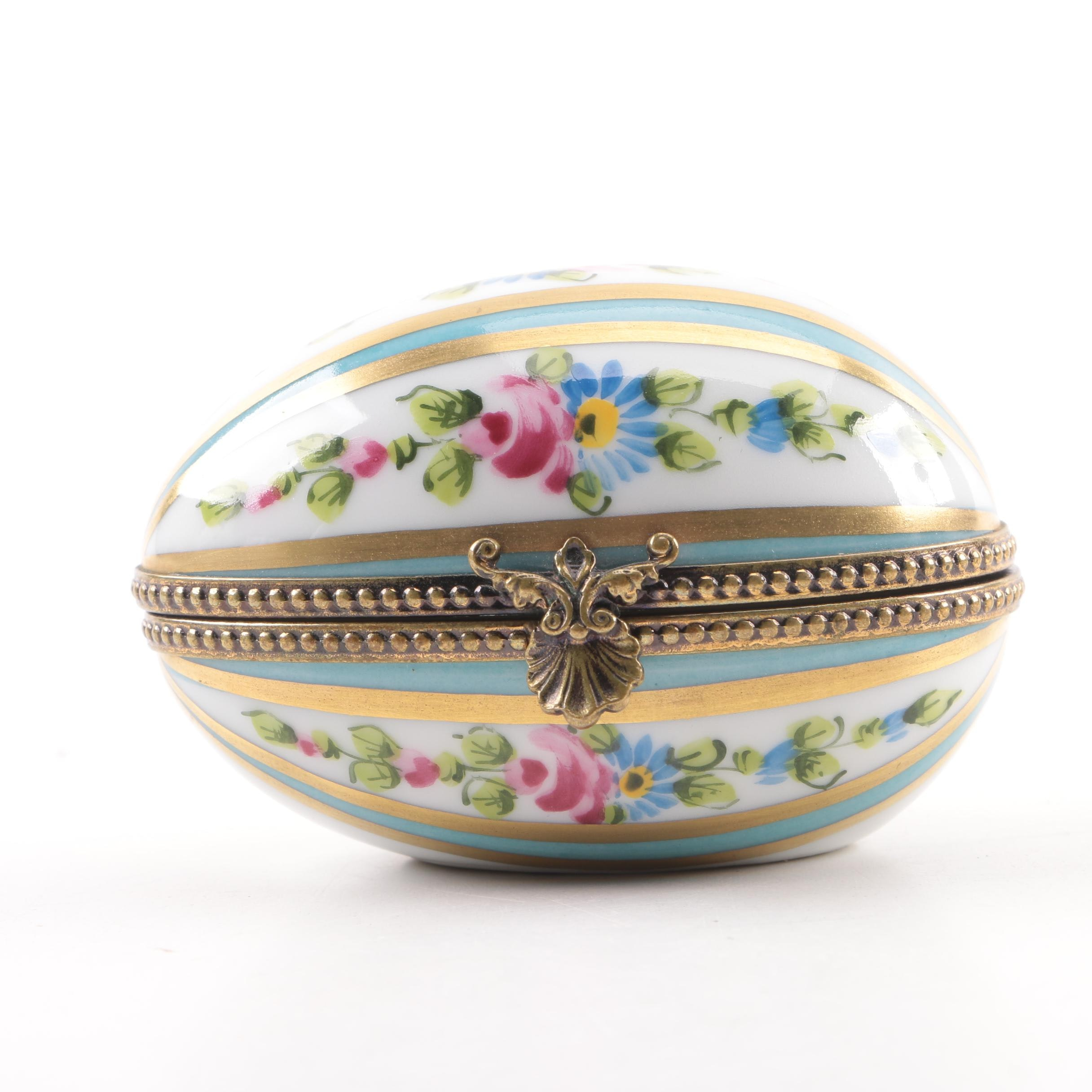 Chamart Limoges Porcelain Egg Shaped Trinket Box