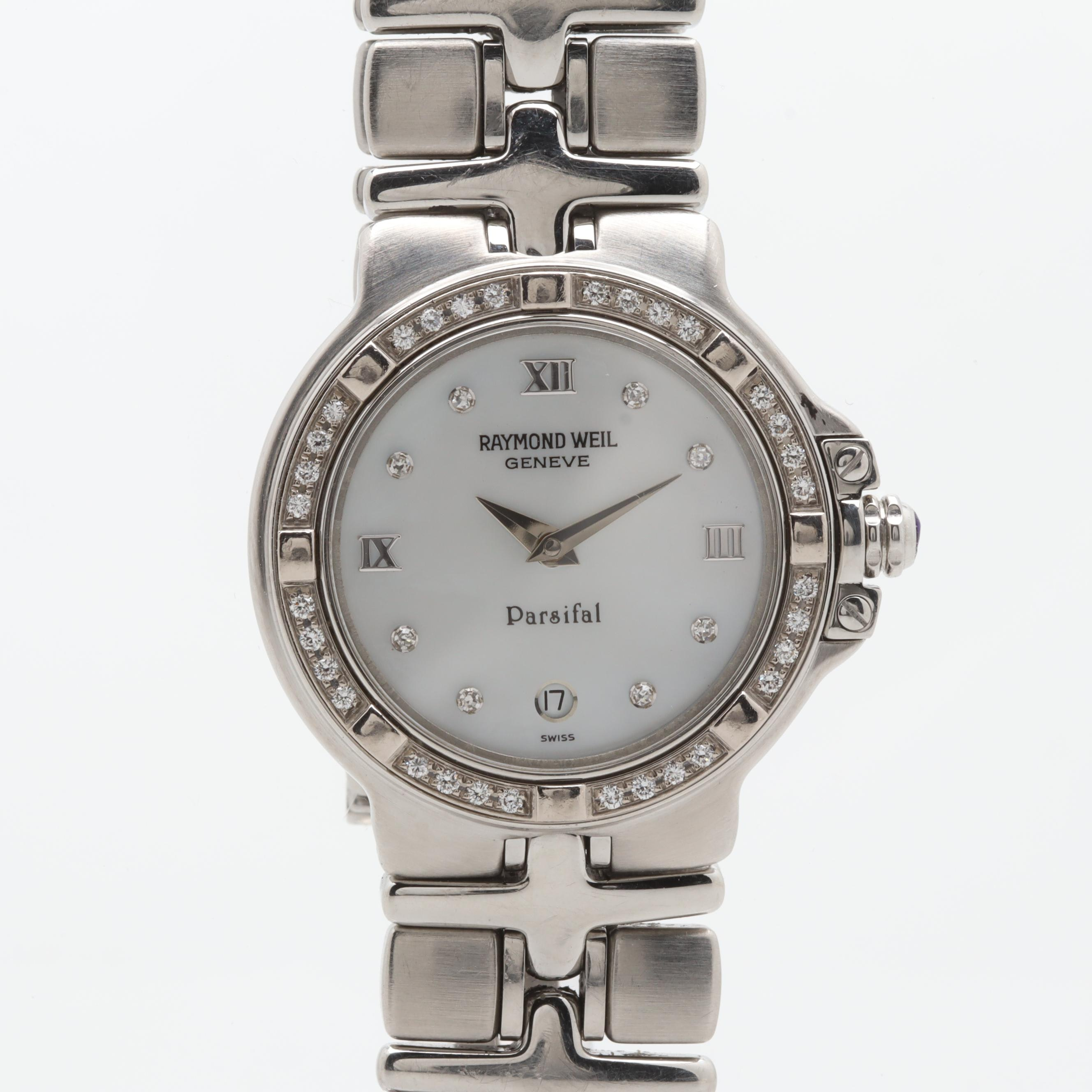 Raymond Weil Stainless Steel Mother of Pearl and Diamond Wristwatch