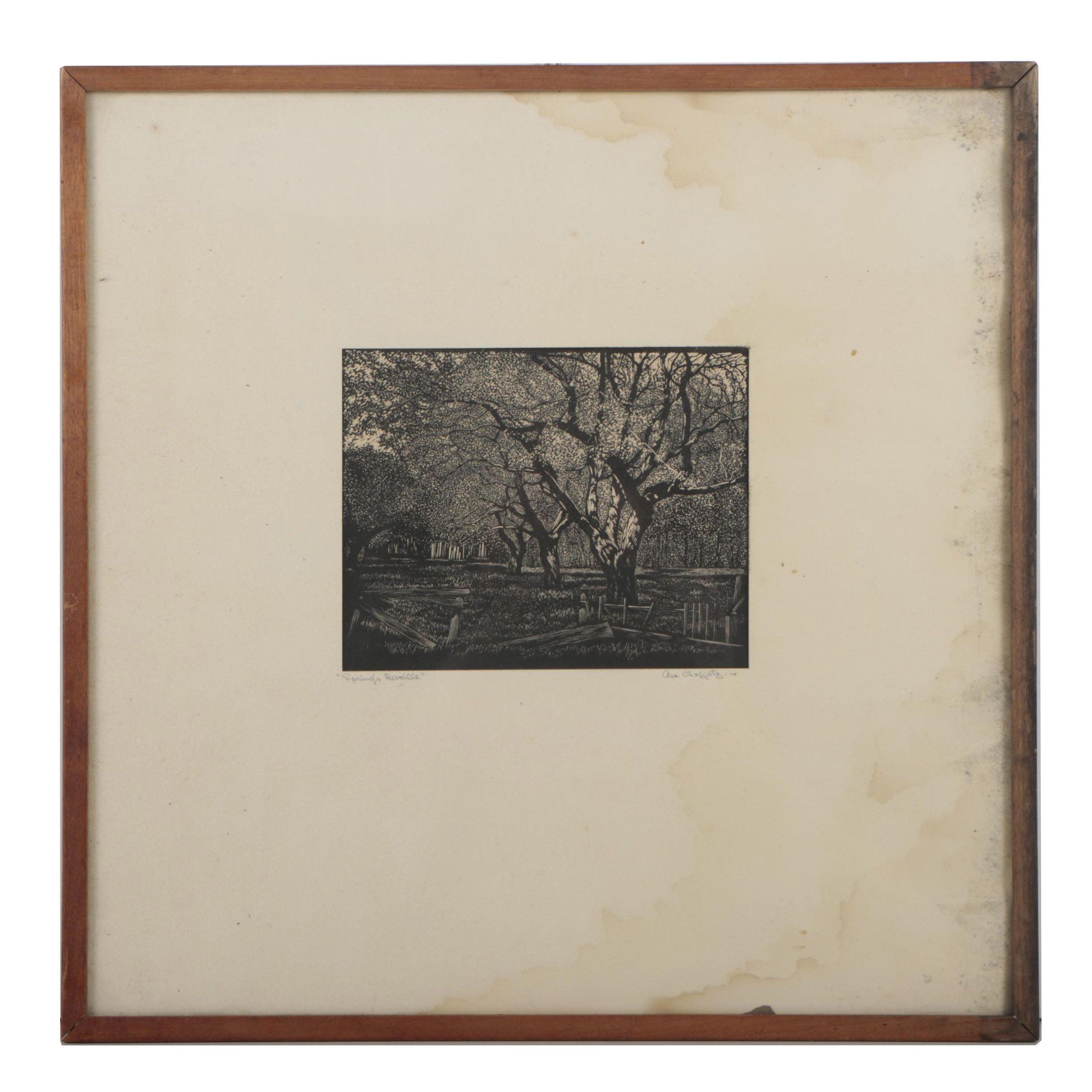 "Asa Cheffetz Wood Engraving ""Spring's Reveille"""