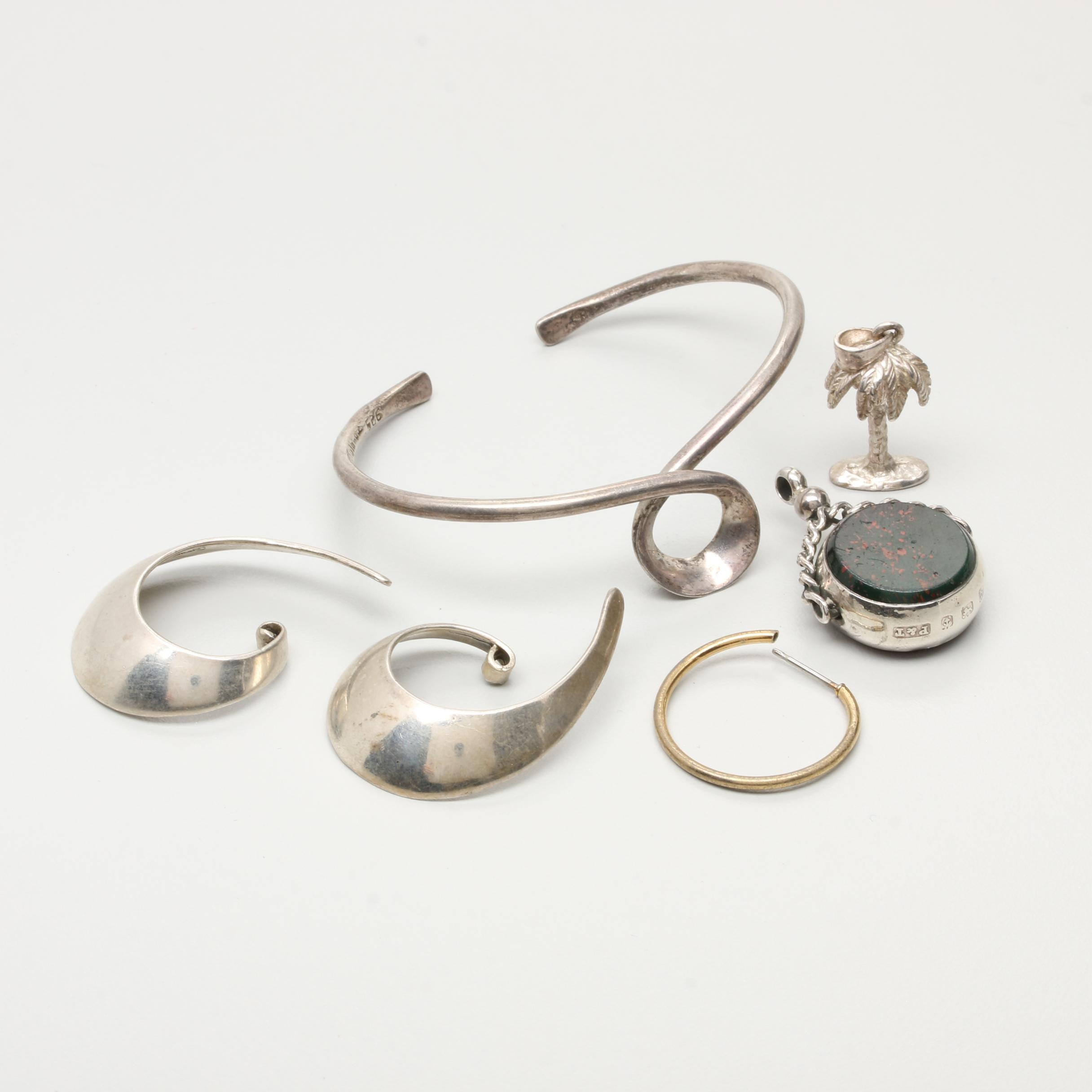 Sterling Silver Jewelry Including Earring Jackets and Watch Fob