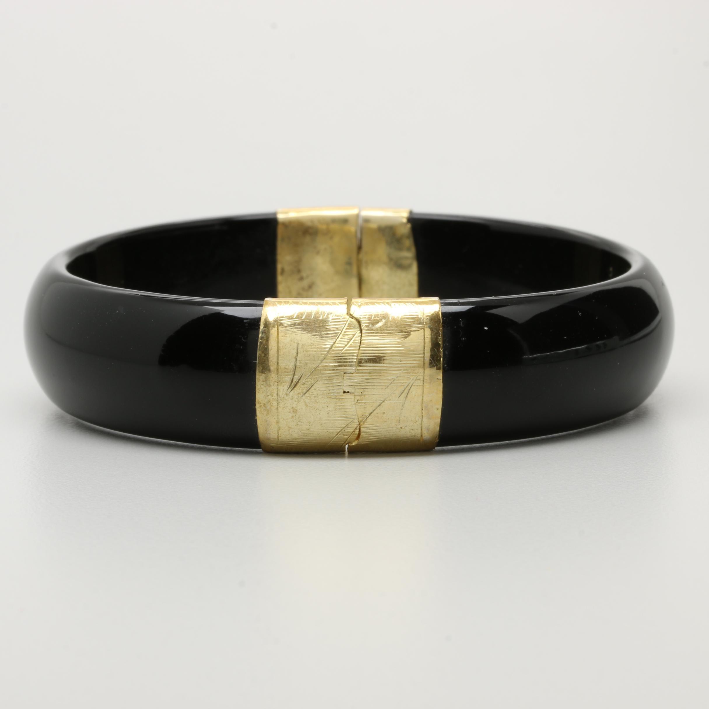 Gold Tone Black Onyx Bangle Bracelet
