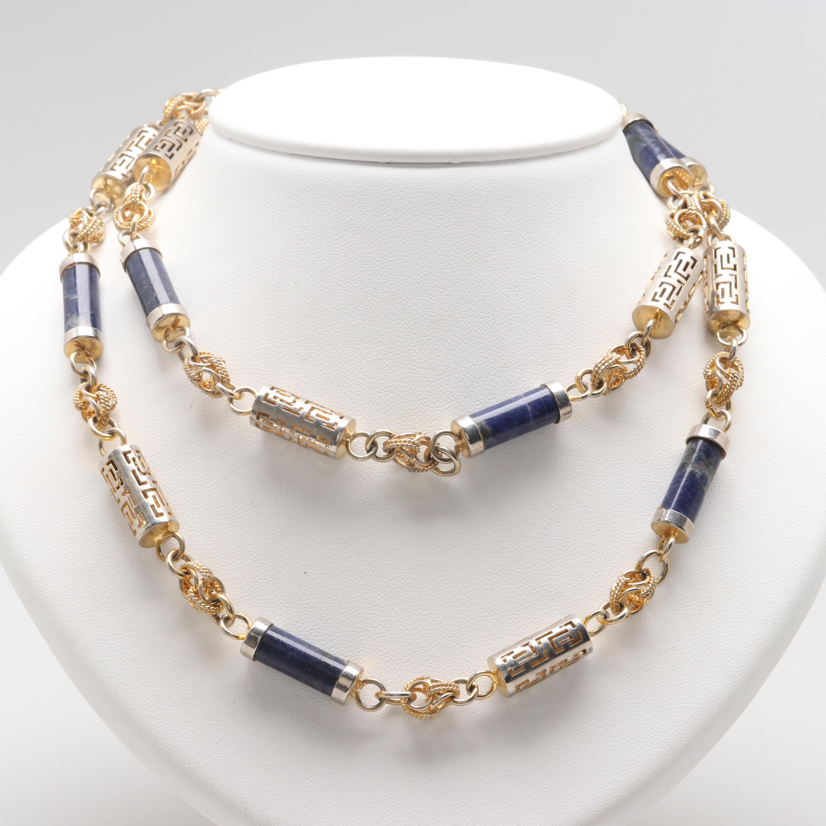 Gold and Silver Tone Necklace Featuring Sodalite