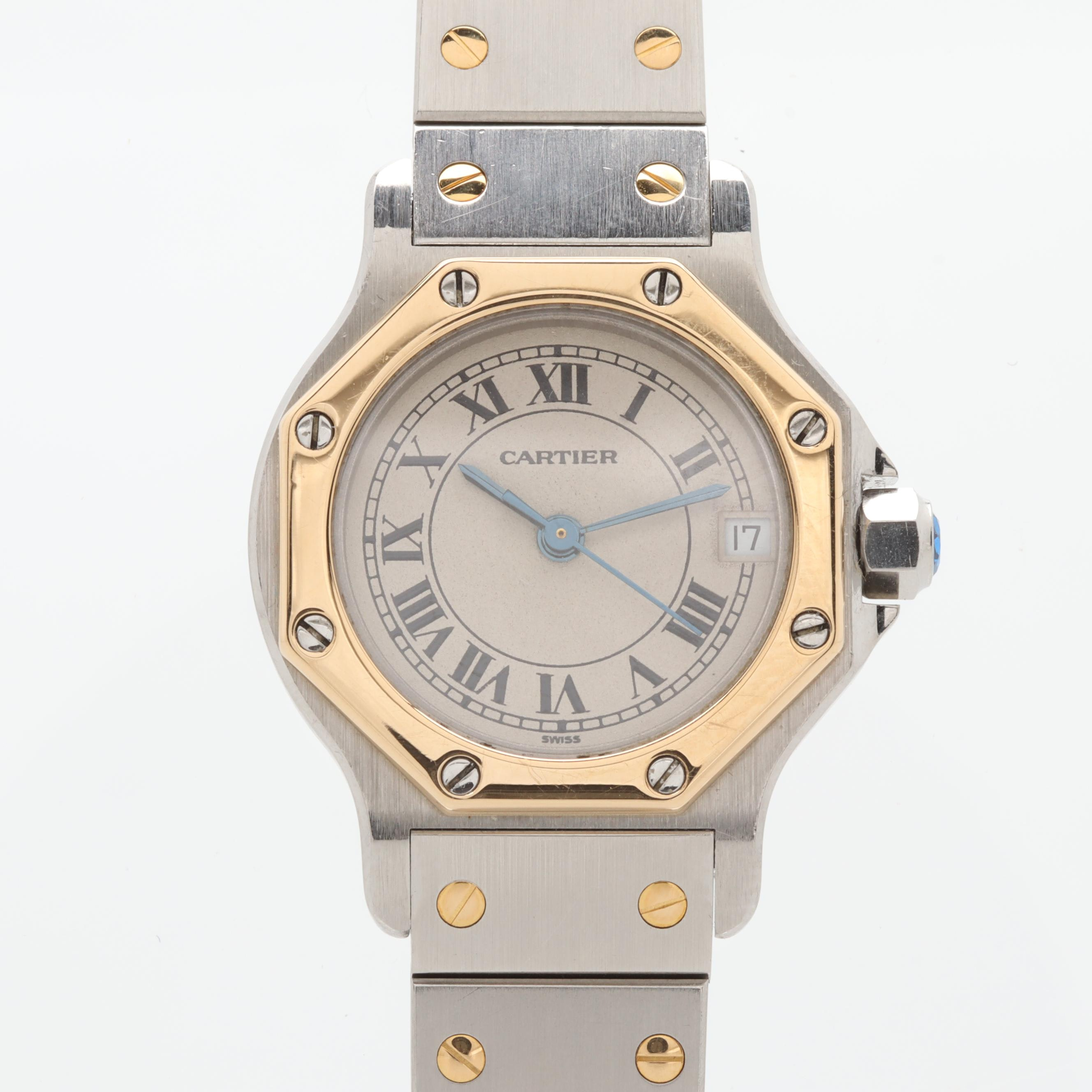 Cartier Santos 18K Yellow Gold and Stainless Steel Quartz with Date Wristwatch