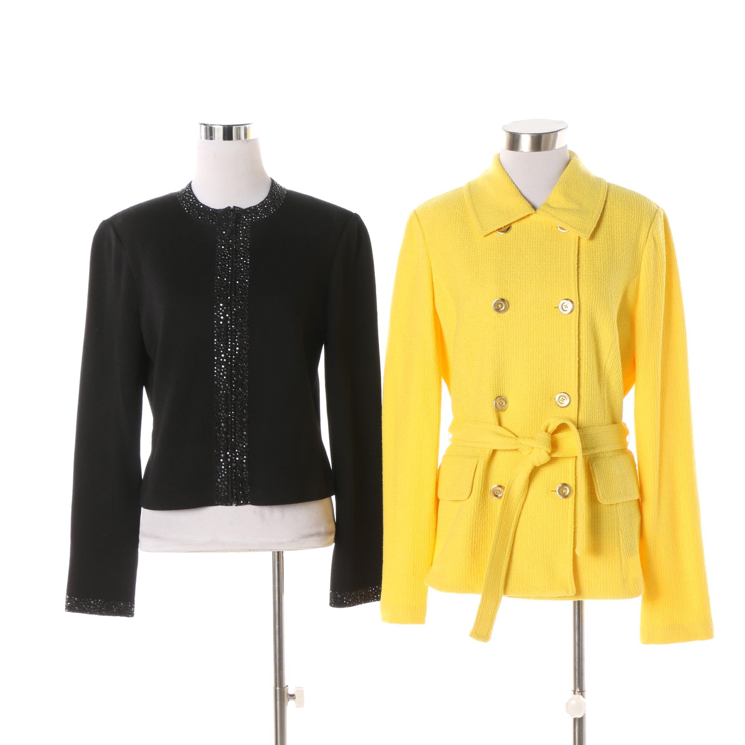 Women's St. John Yellow Knit Jacket and St. John Boutique Beaded Black Cardigan