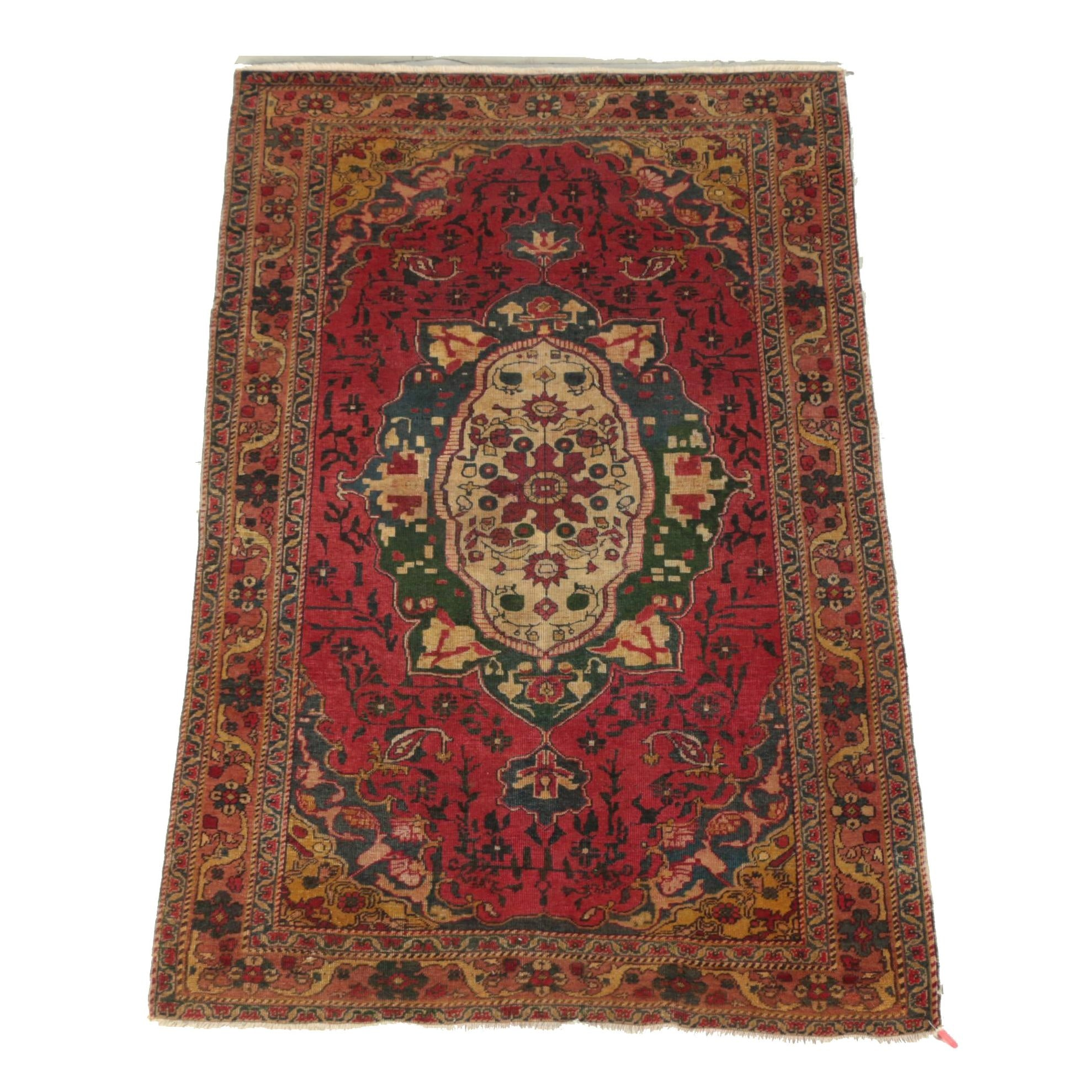Vintage Hand-Knotted Turkish Wool Area Rug