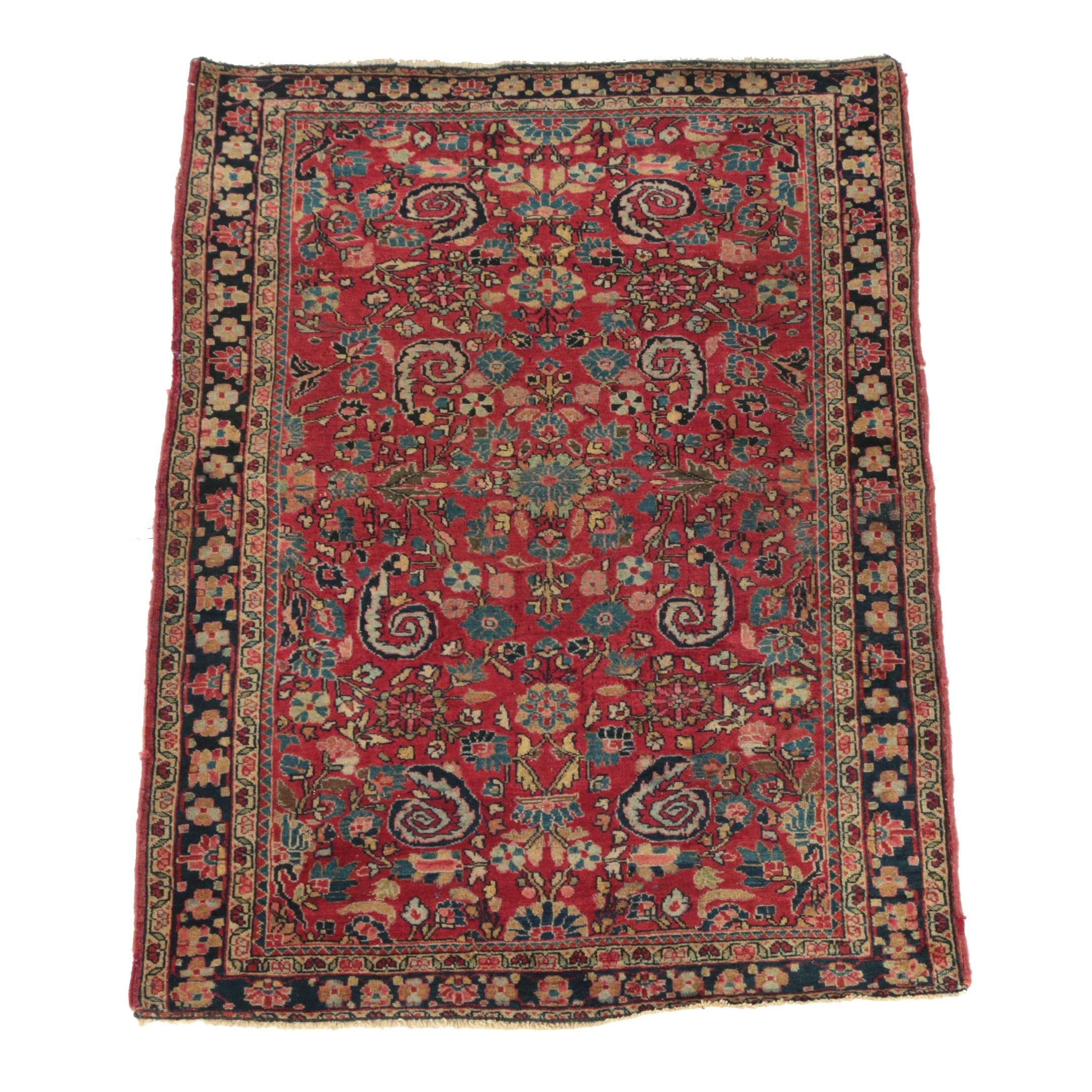 Semi-Antique Hand-Knotted Persian Sarouk Wool Accent Rug