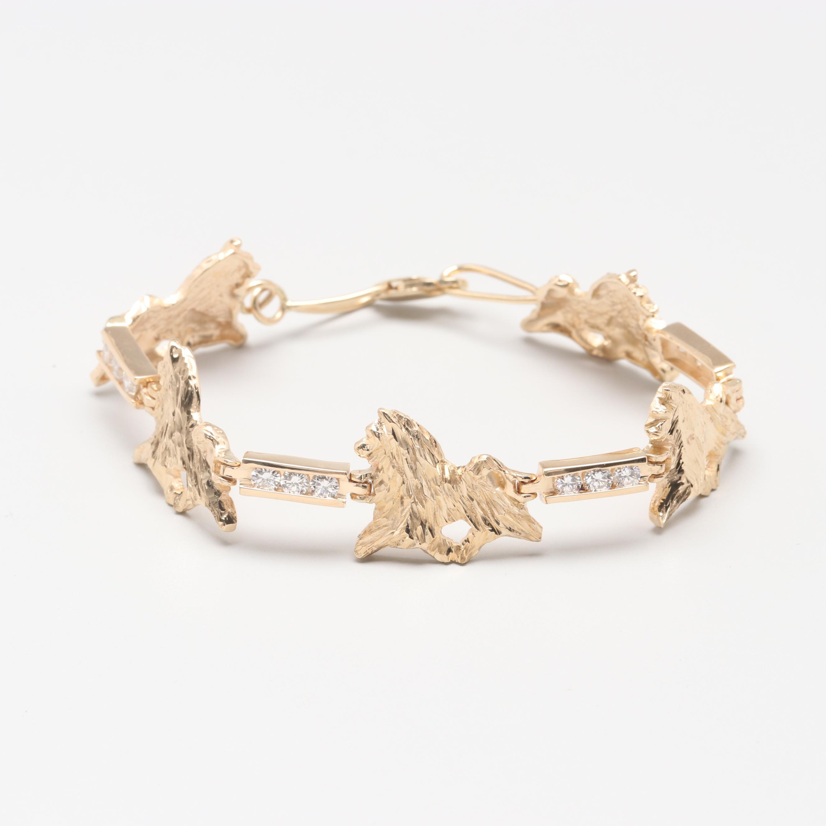 14K Yellow Gold 1.25 CTW Diamond Dog Motif Bracelet