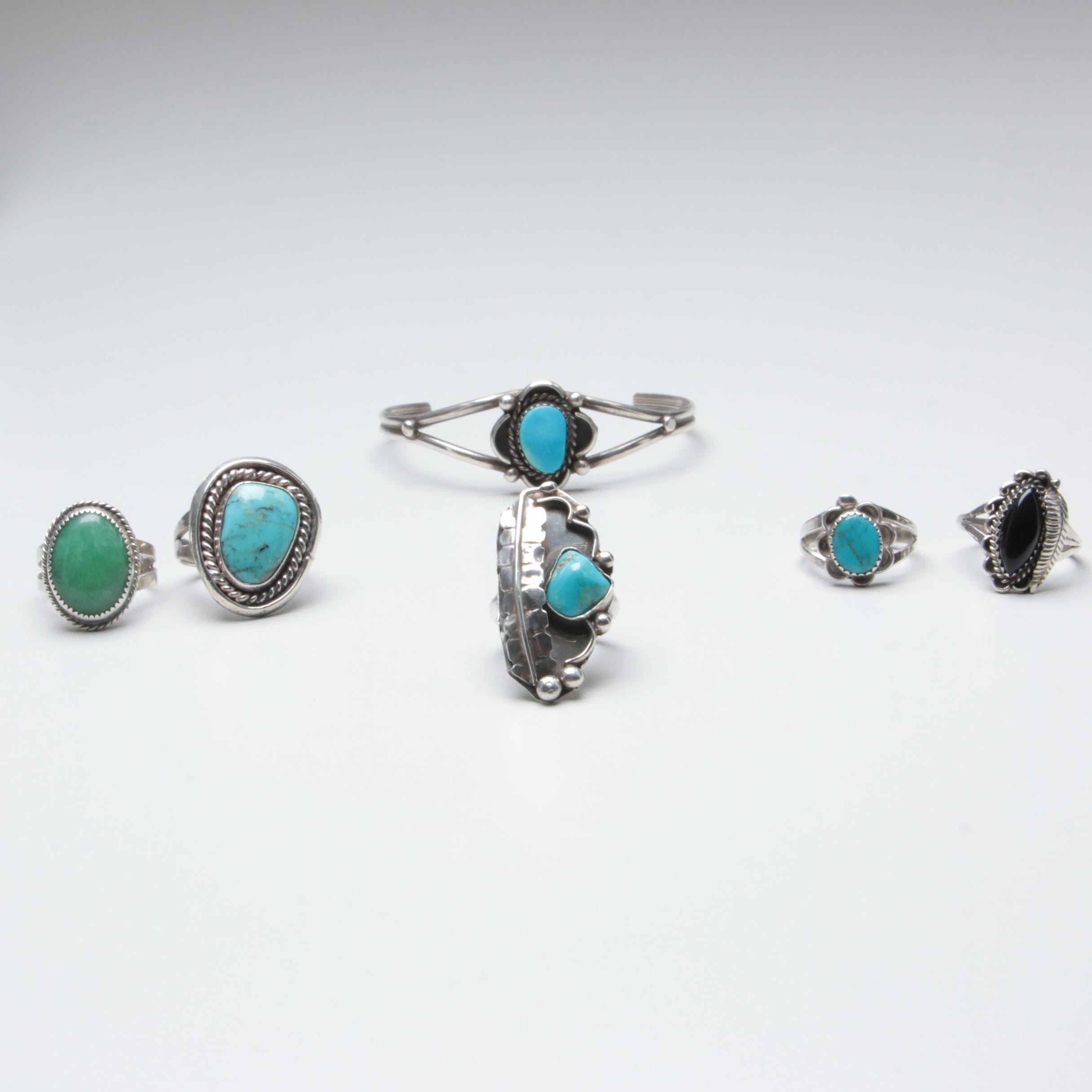 Southwestern Style Sterling Silver Rings and Cuff Bracelet with Turquoise