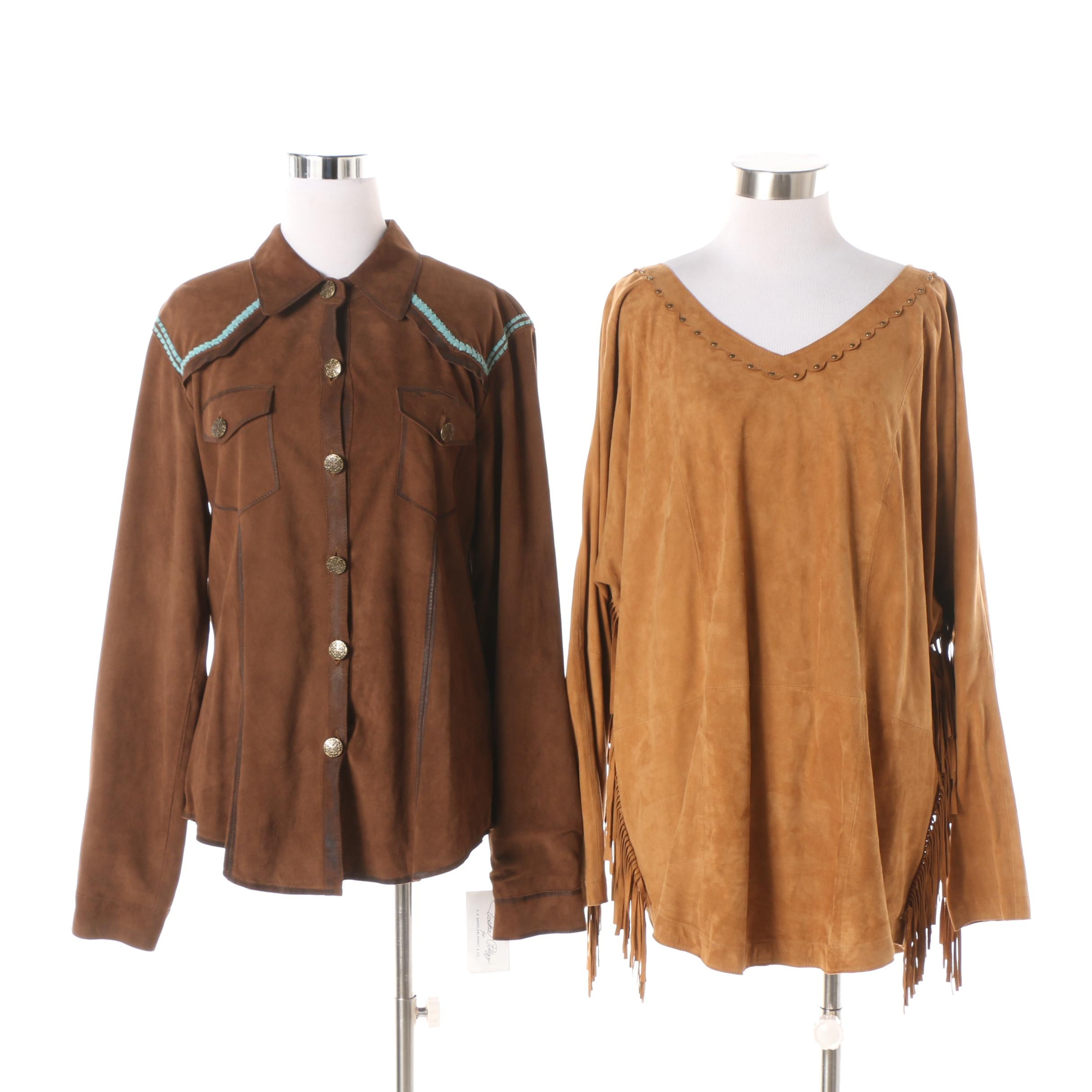 Women's Tasha Polizzi Collection Brown Suede Shirt and Tan Suede Tunic