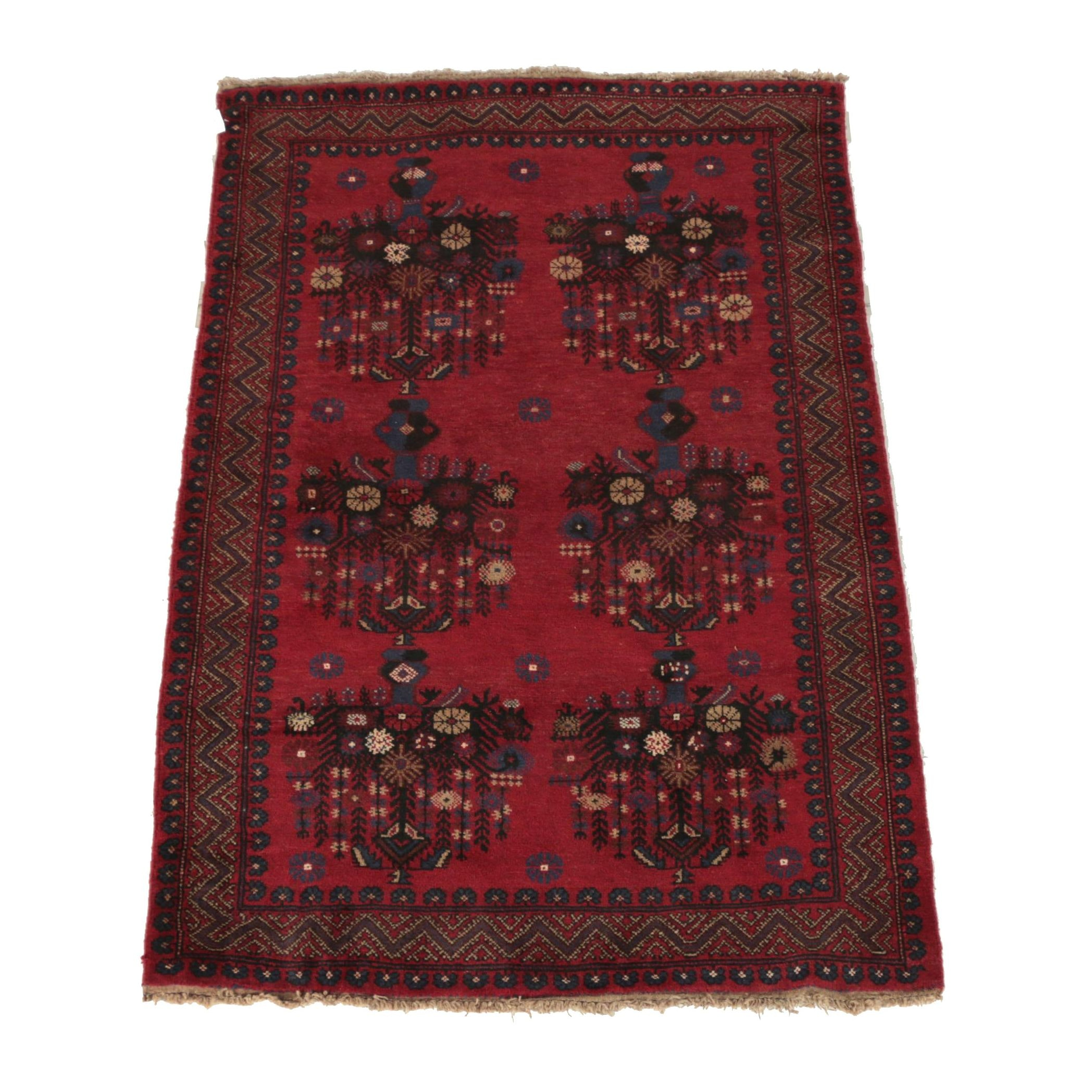 Hand-Knotted Afghani Turkmen Wool Area Rug