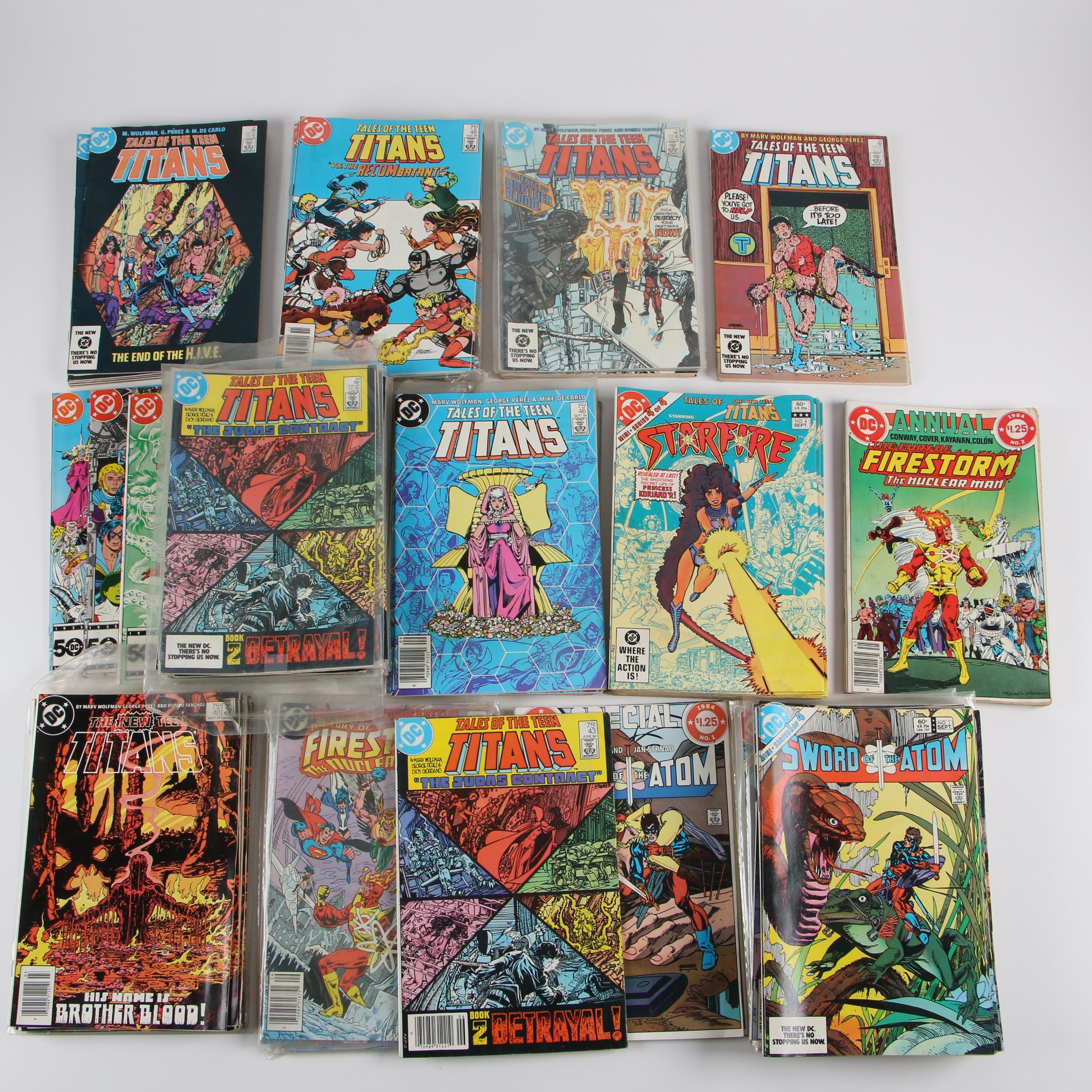 "1980s DC Comic Books featuring ""Tales of the Teen Titans"" and Others"