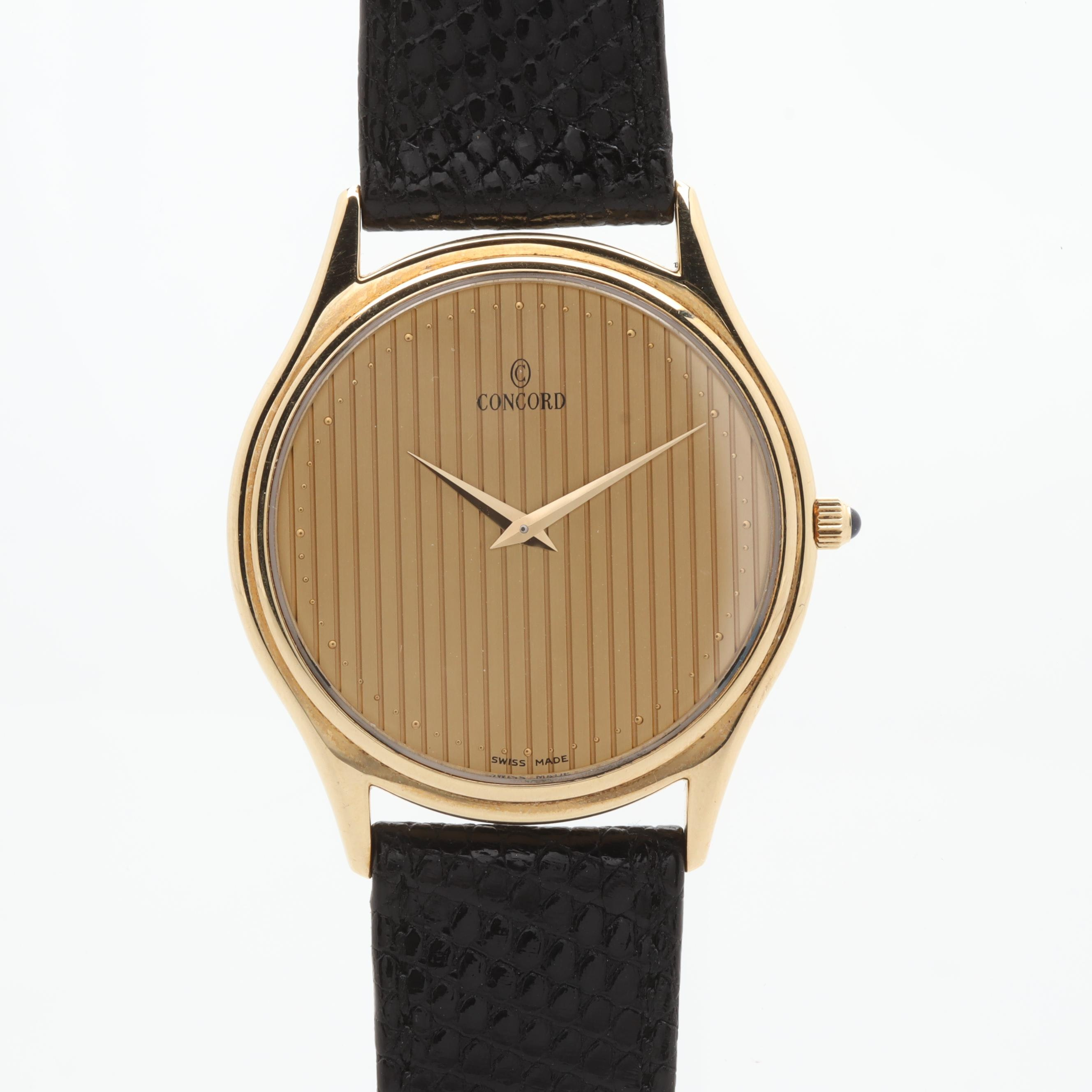 Concord 14K Yellow Gold and Leather Thin Dress Wristwatch