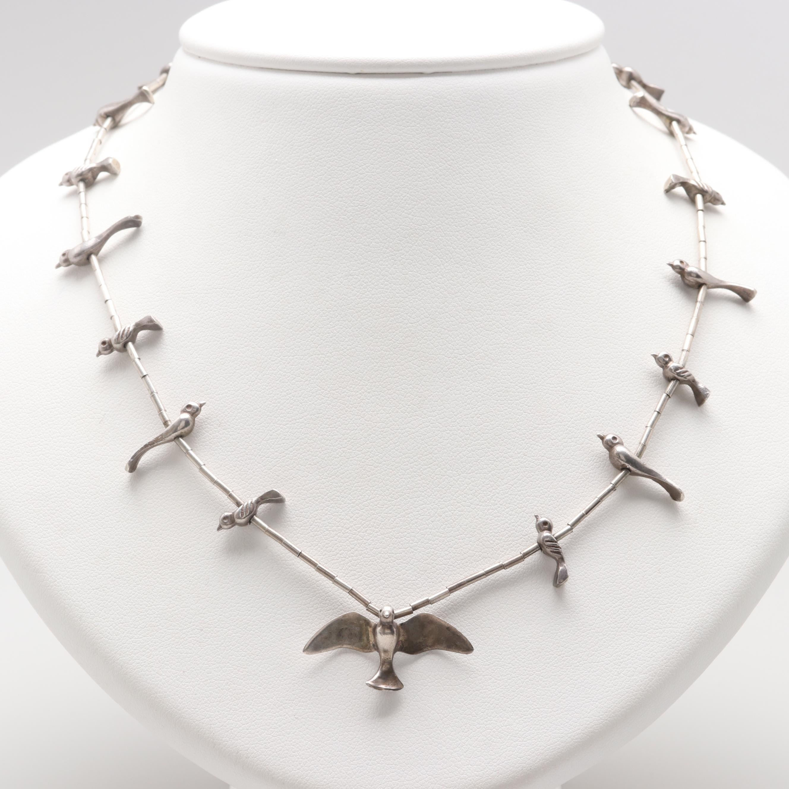 Southwestern Style Sterling Silver Bird Fetish Necklace