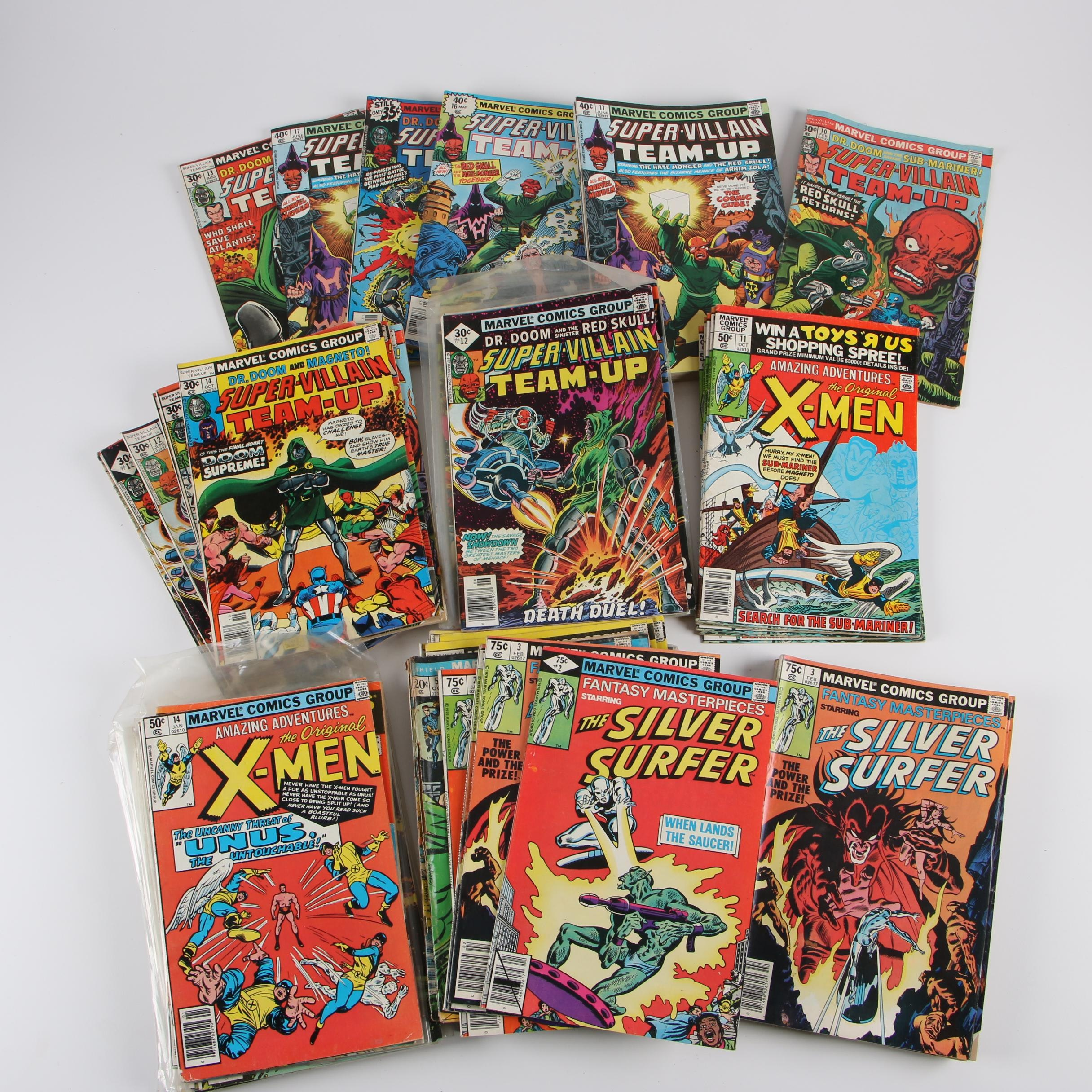 """Late 1970s-1980s Marvel Comic Books featuring """"Super-Villain Team-Up"""""""