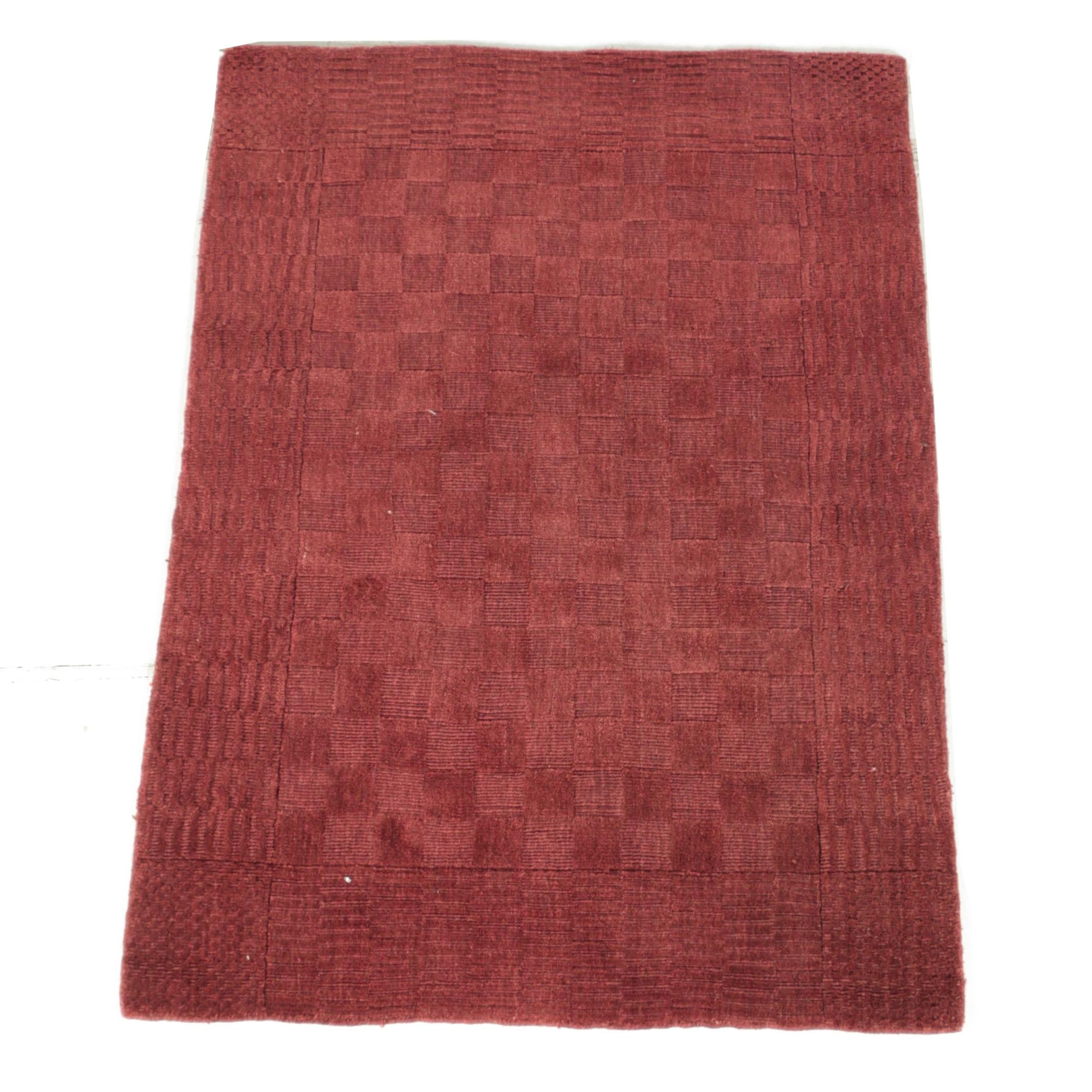 Hand-Knotted Indian Cut and Loop Pile Checkered Wool Area Rug