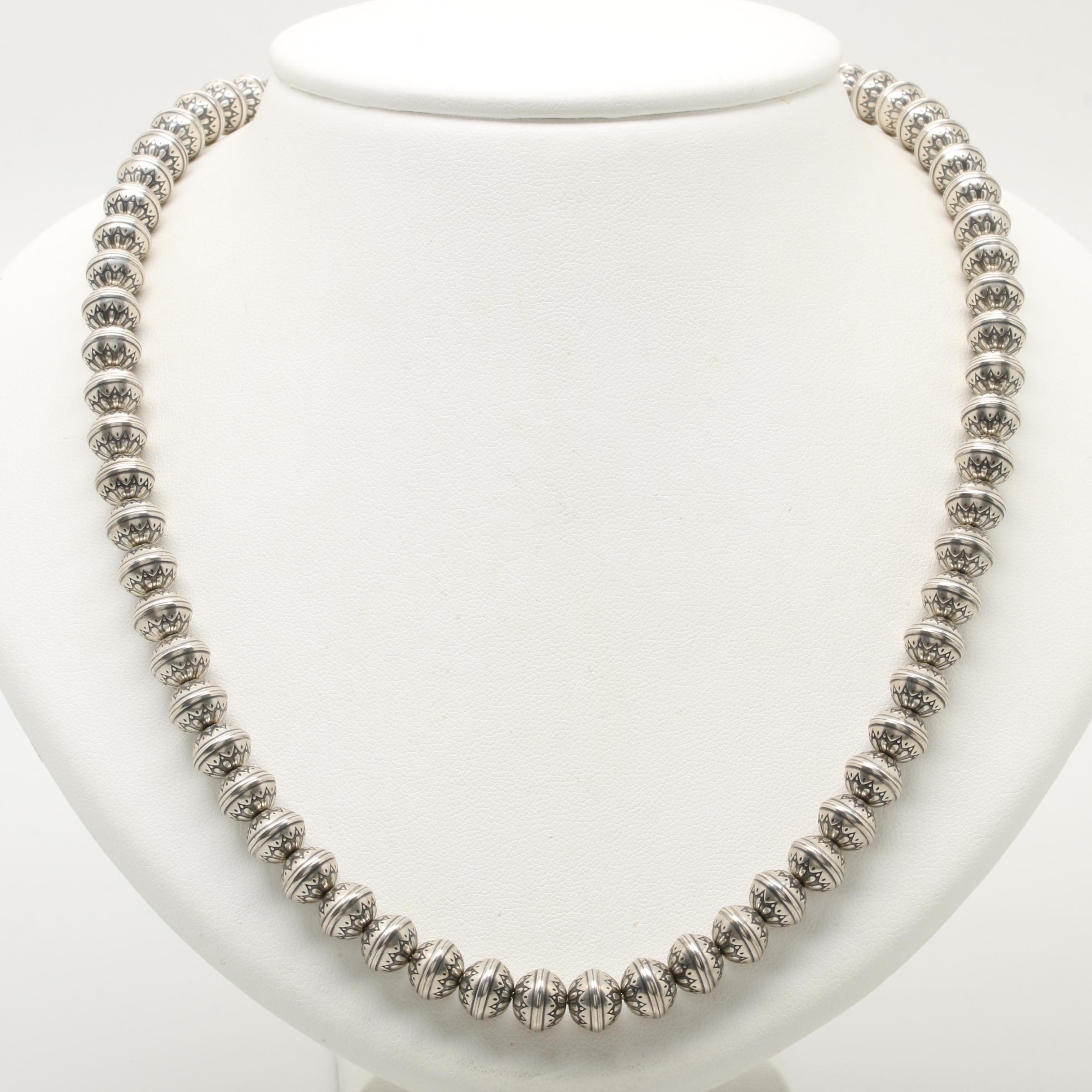 Southwestern Style Sterling Silver Bench Bead Necklace