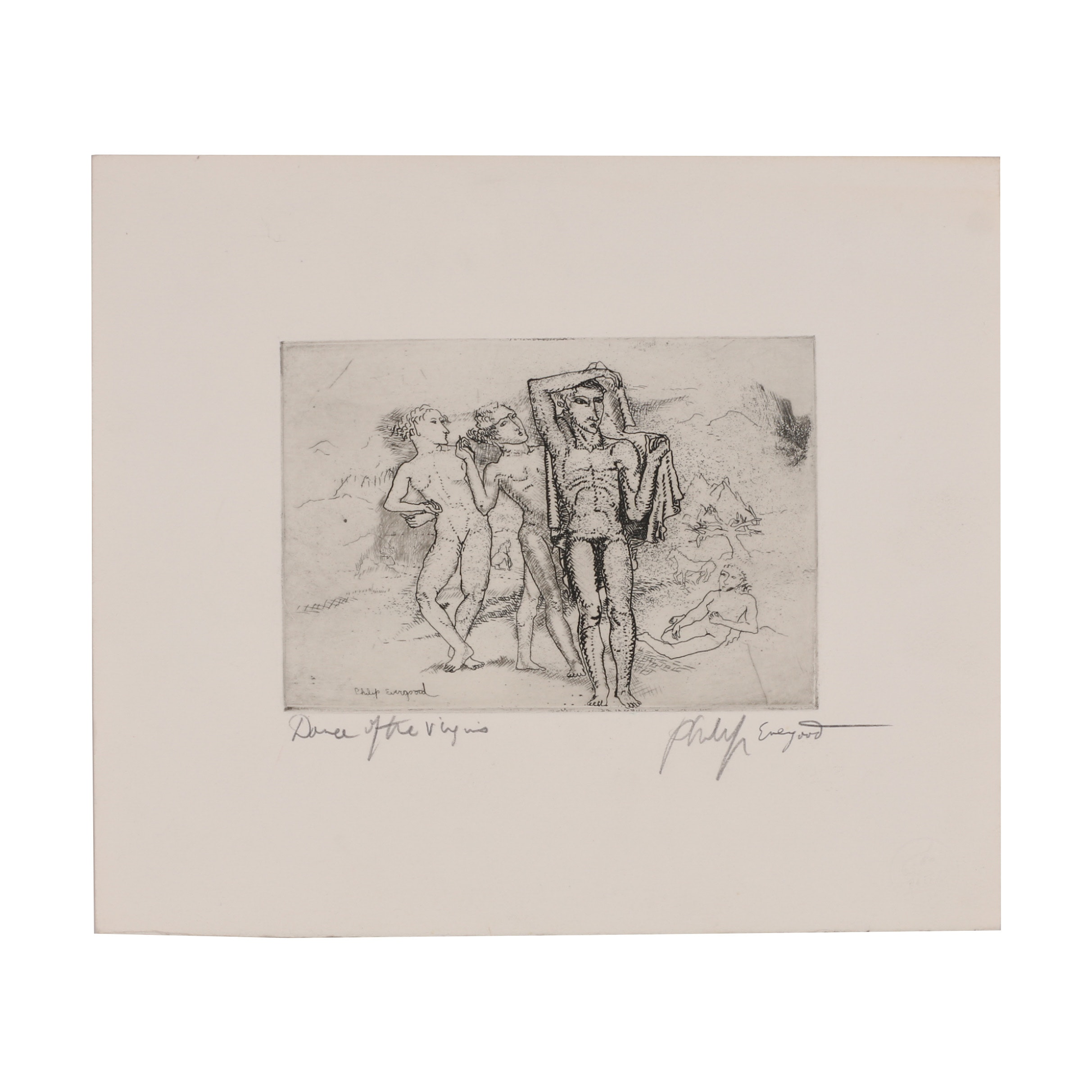 "Philip Evergood Etching ""Dance of the Virgins"""