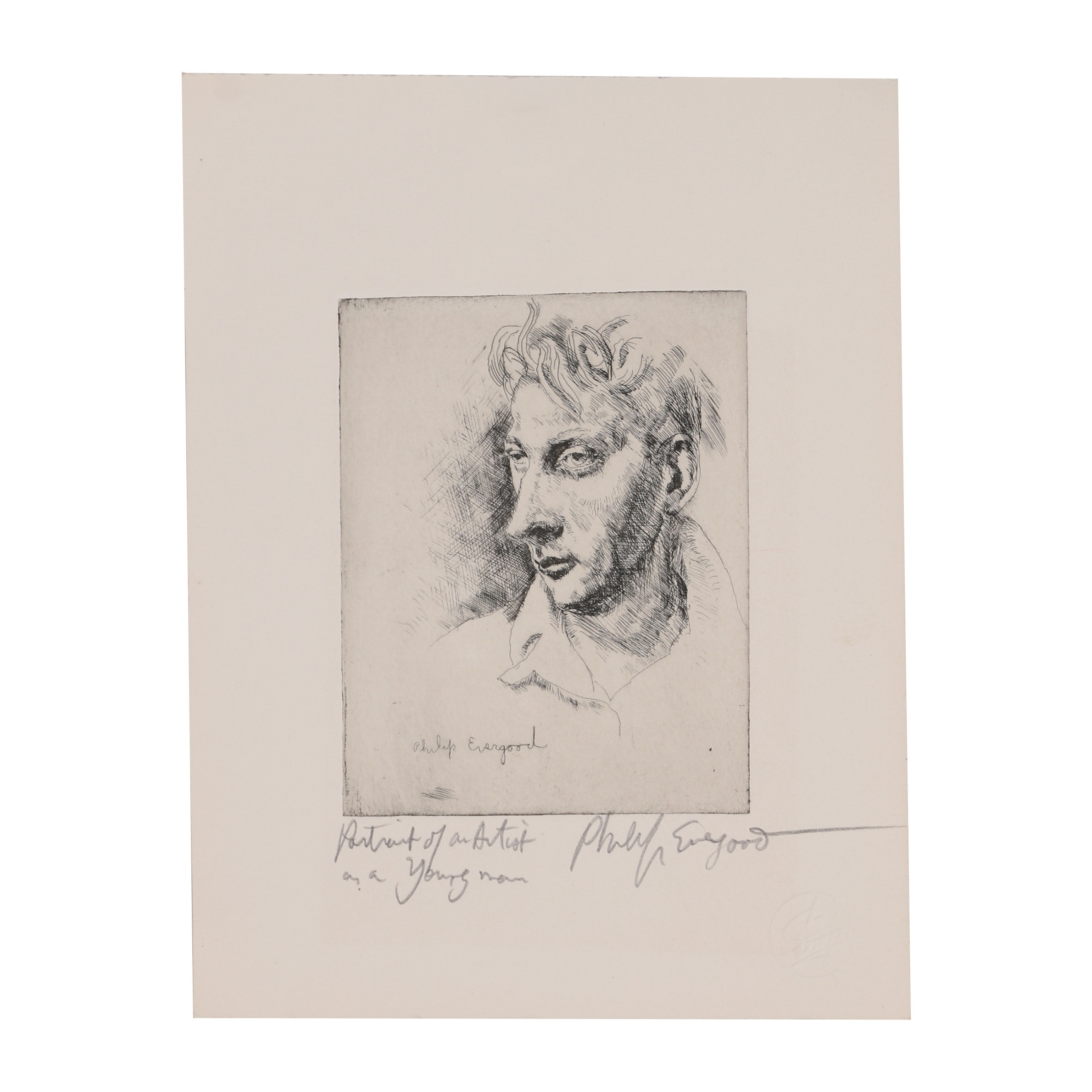 "Philip Evergood Etching ""Portrait of the Artist as a Young Man"""