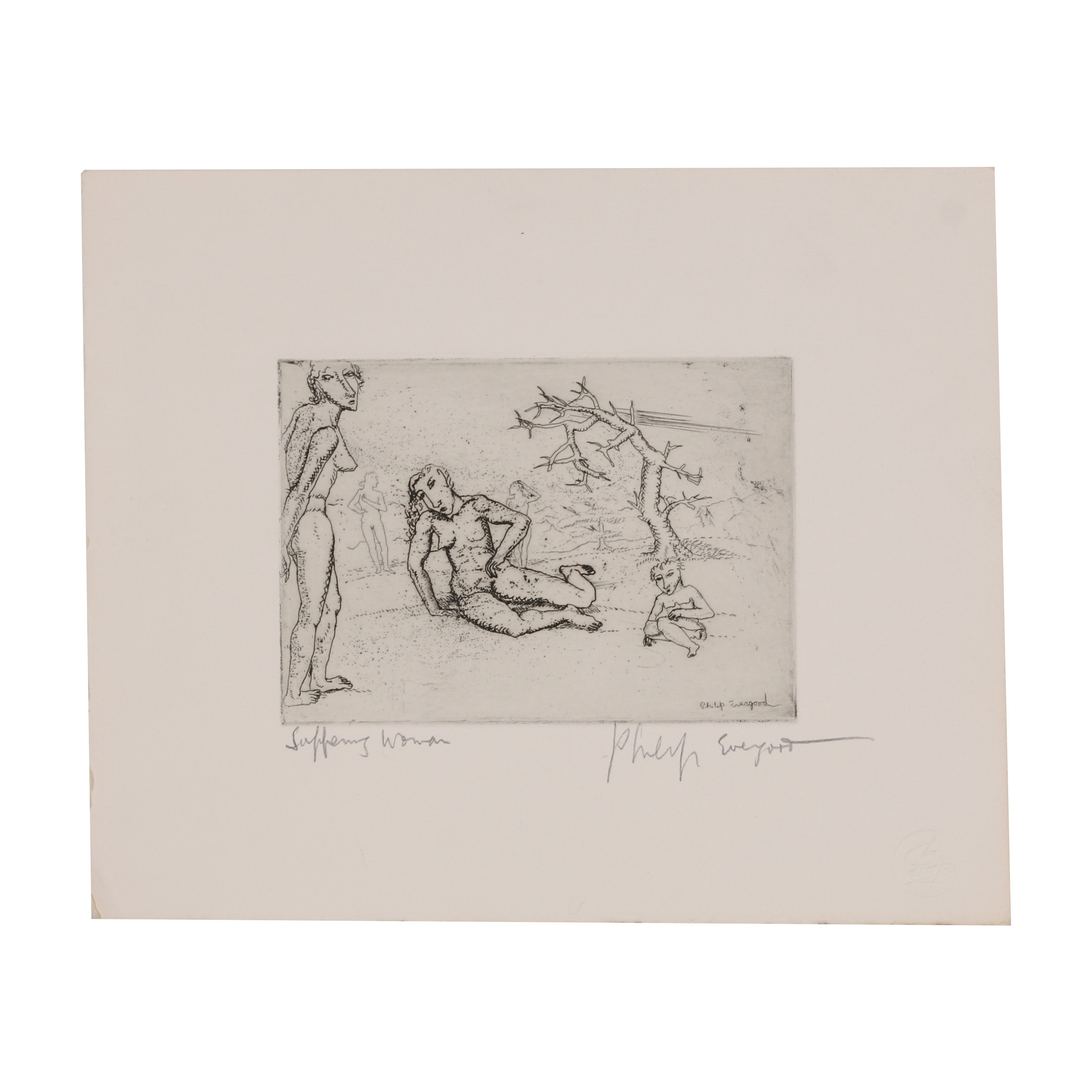"Philip Evergood Etching ""Suffering Woman"""