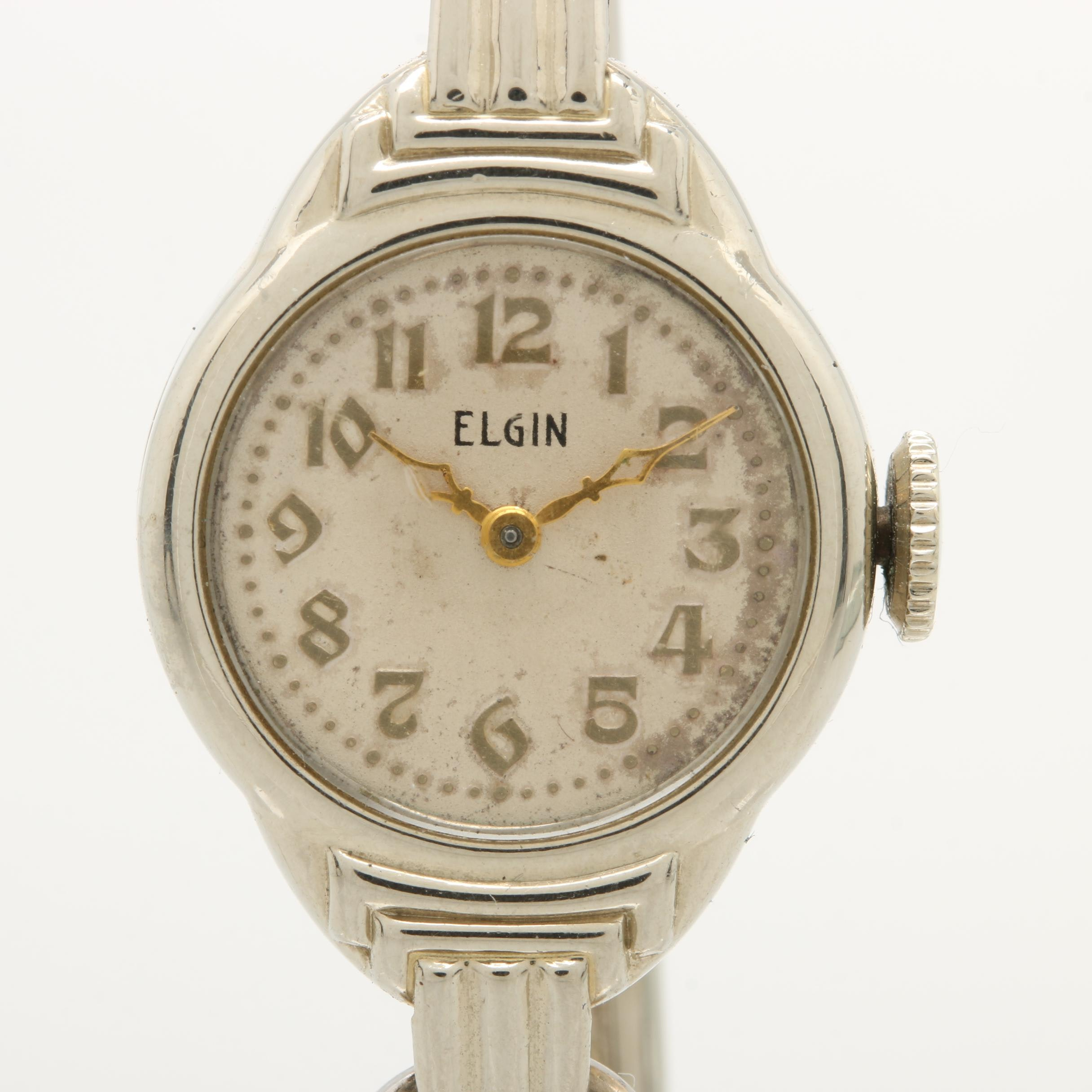 1935 Elgin 14K White Gold Filled Wristwatch