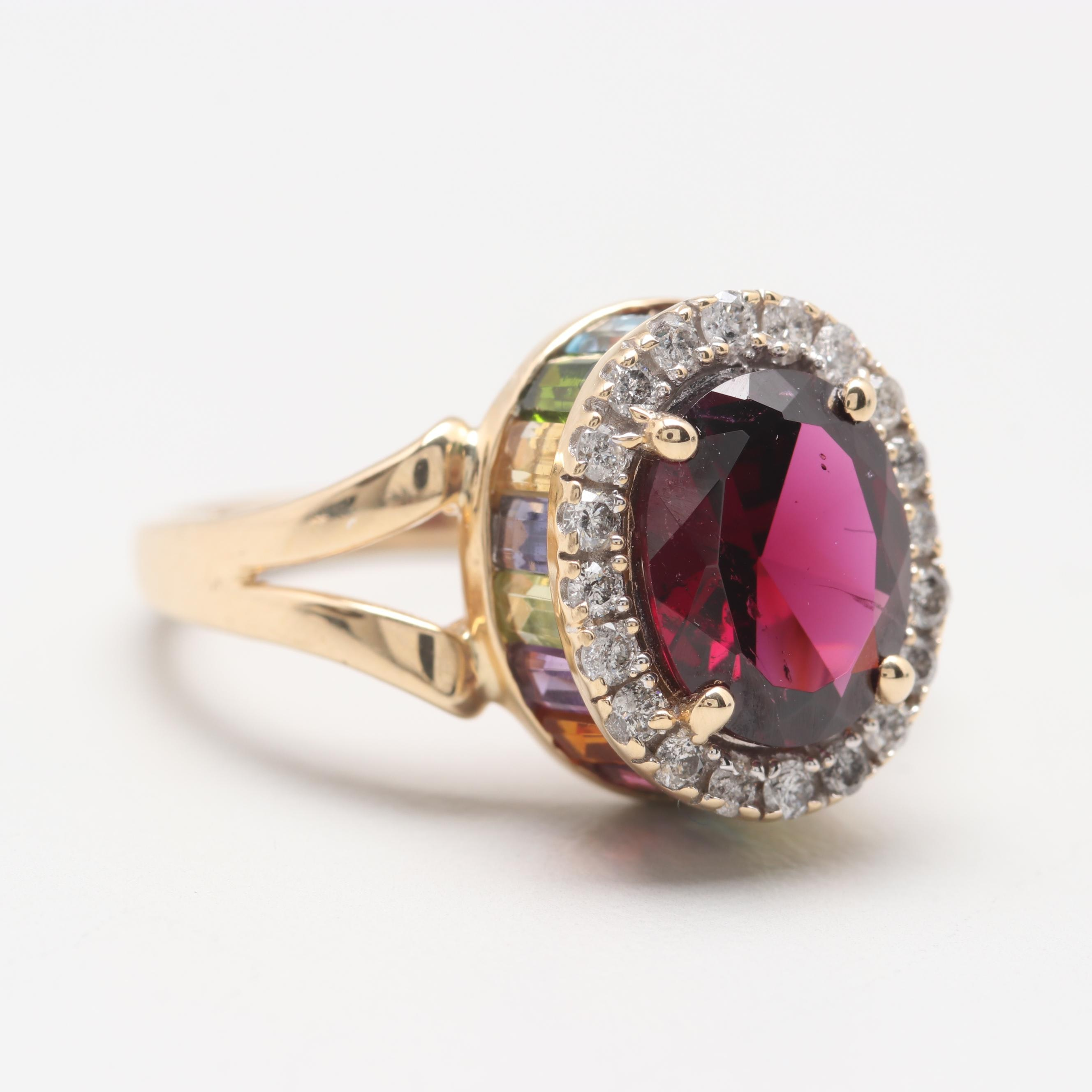 14K Yellow Gold Rhodolite Garnet, Diamond, and Gemstone Ring