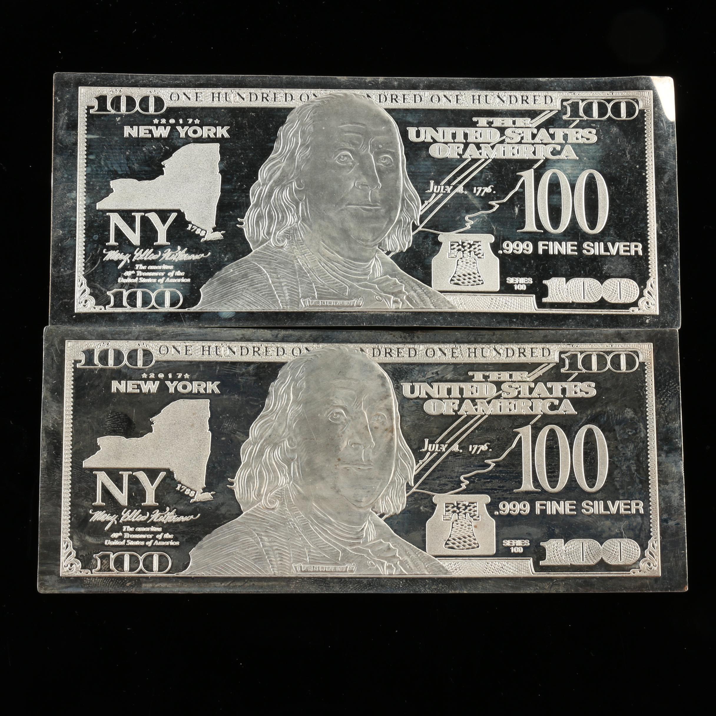 Two 1-Oz. Fine Silver $100 Federal Reserve Note Replicas