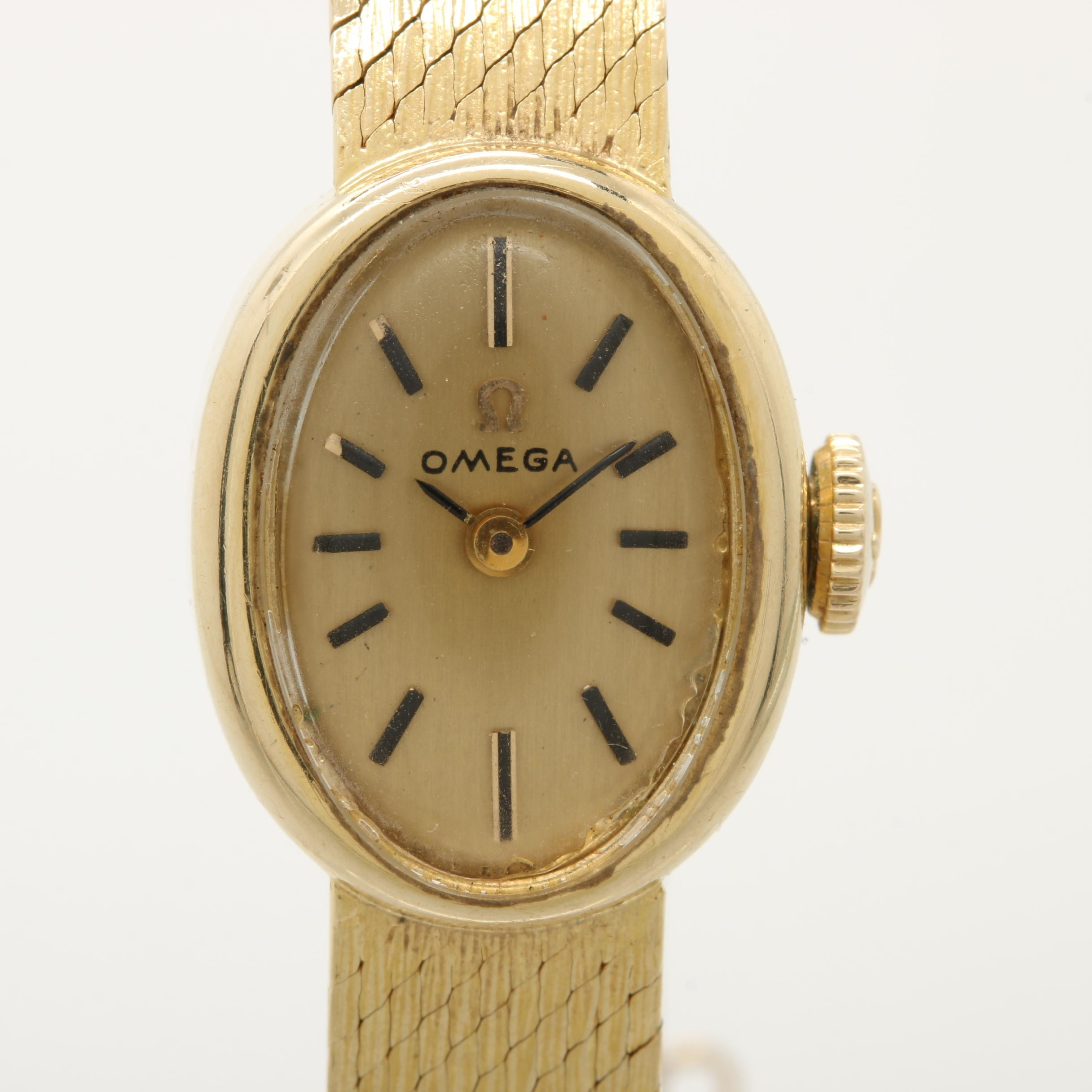 Omega 14K Yellow Gold Stem Wind Wristwatch