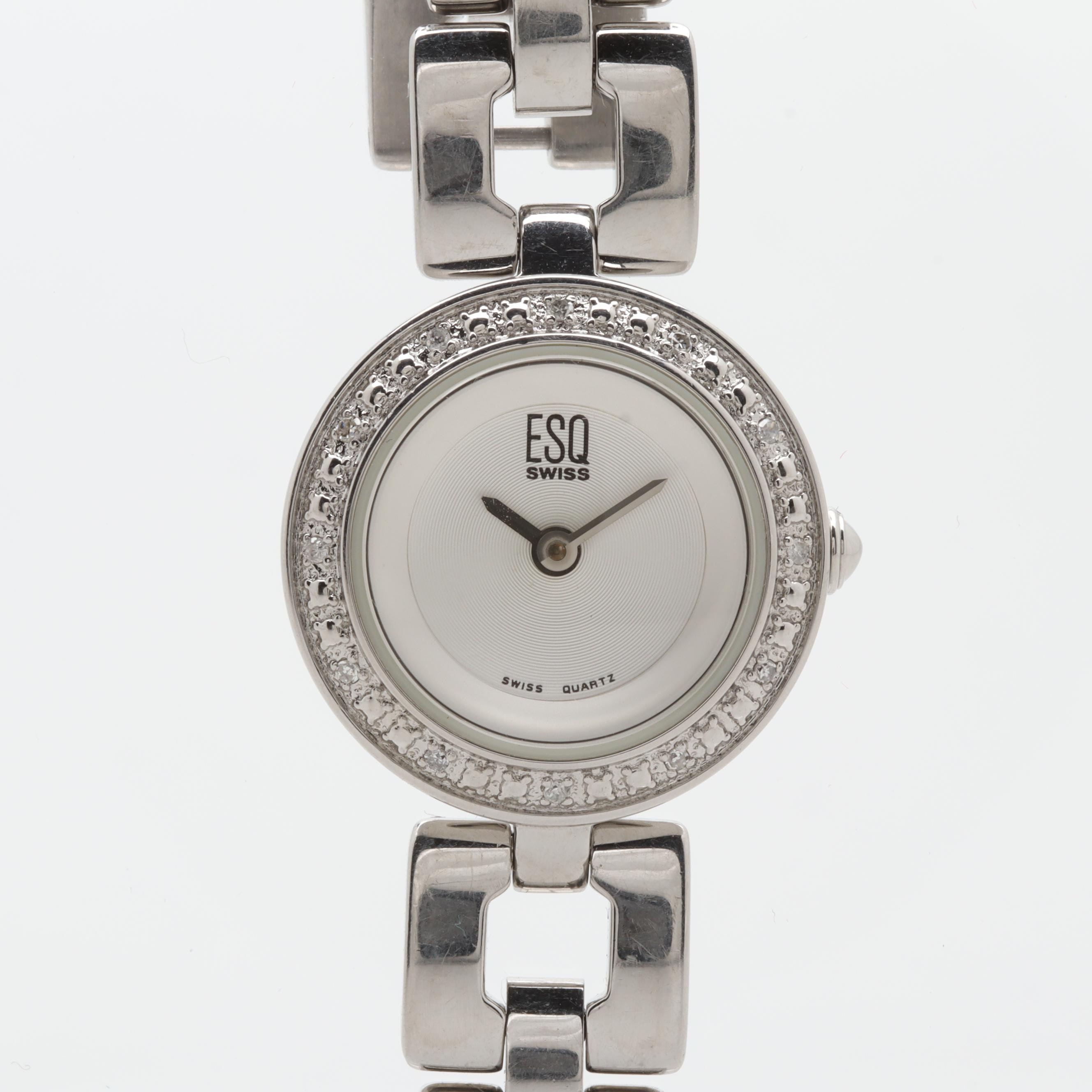 ESQ by Movado Stainless Steel Diamond Wristwatch
