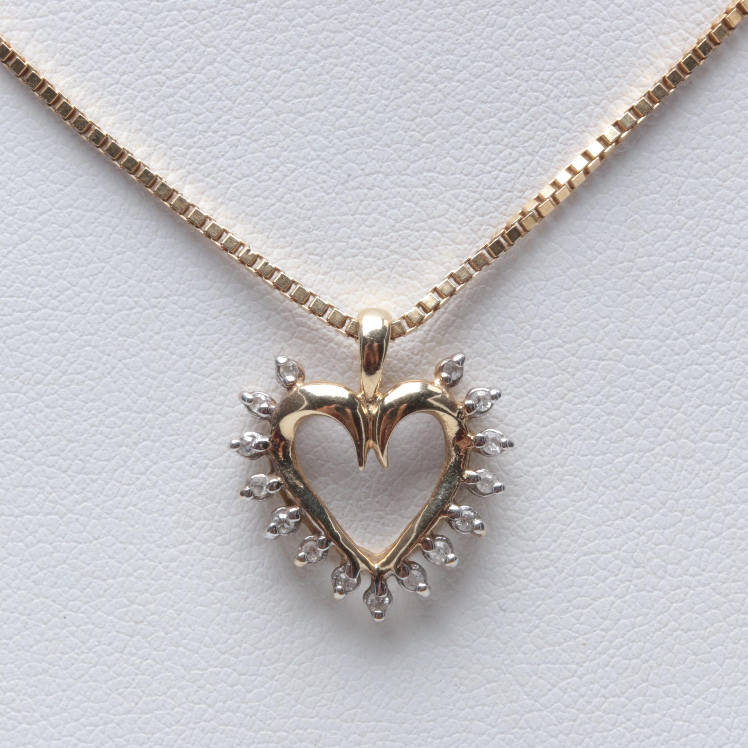 10K Yellow Gold Diamond Heart Pendant and 14K Yellow Gold Necklace