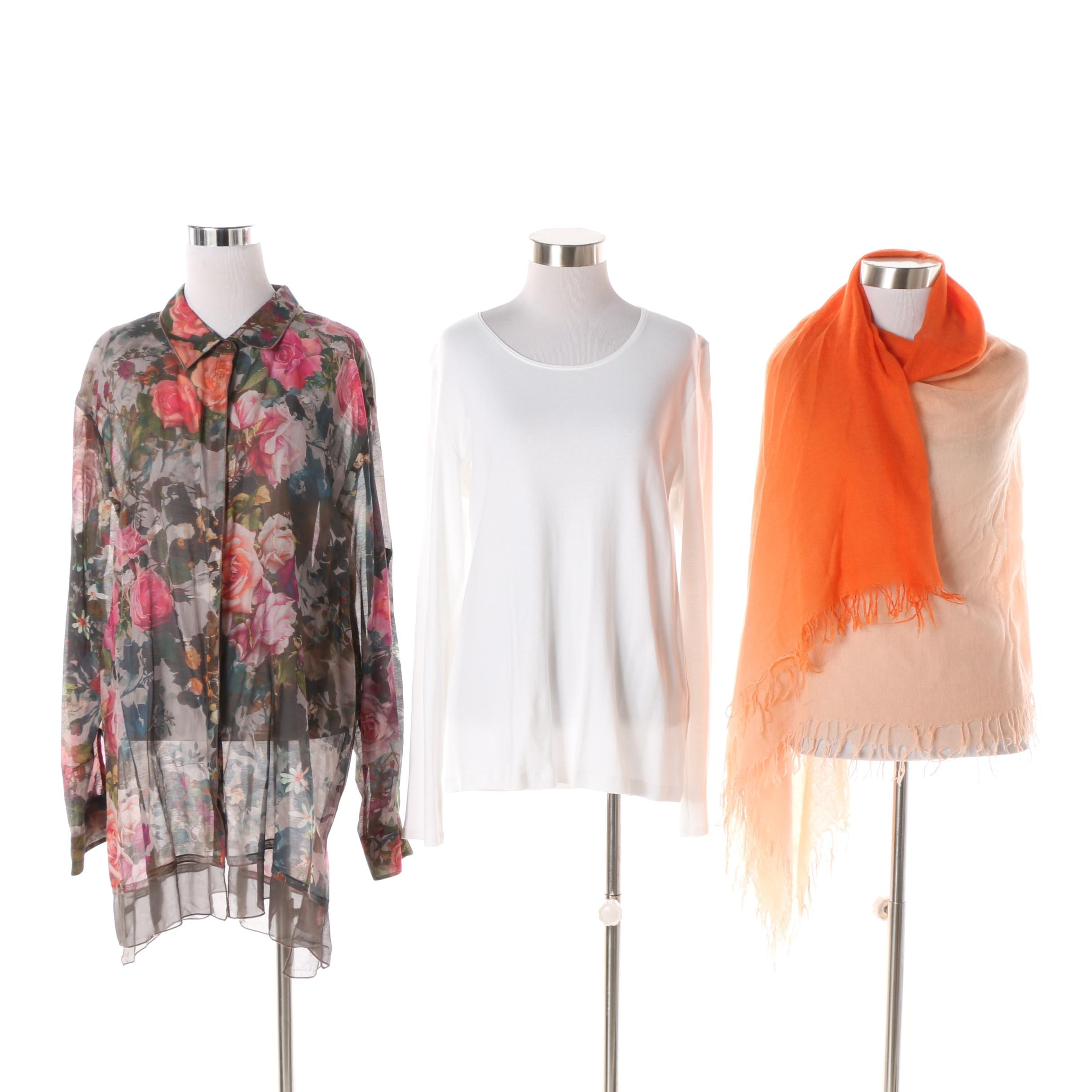 Women's 3J Workshop and J. Jill Tops with Chan Luu Scarf