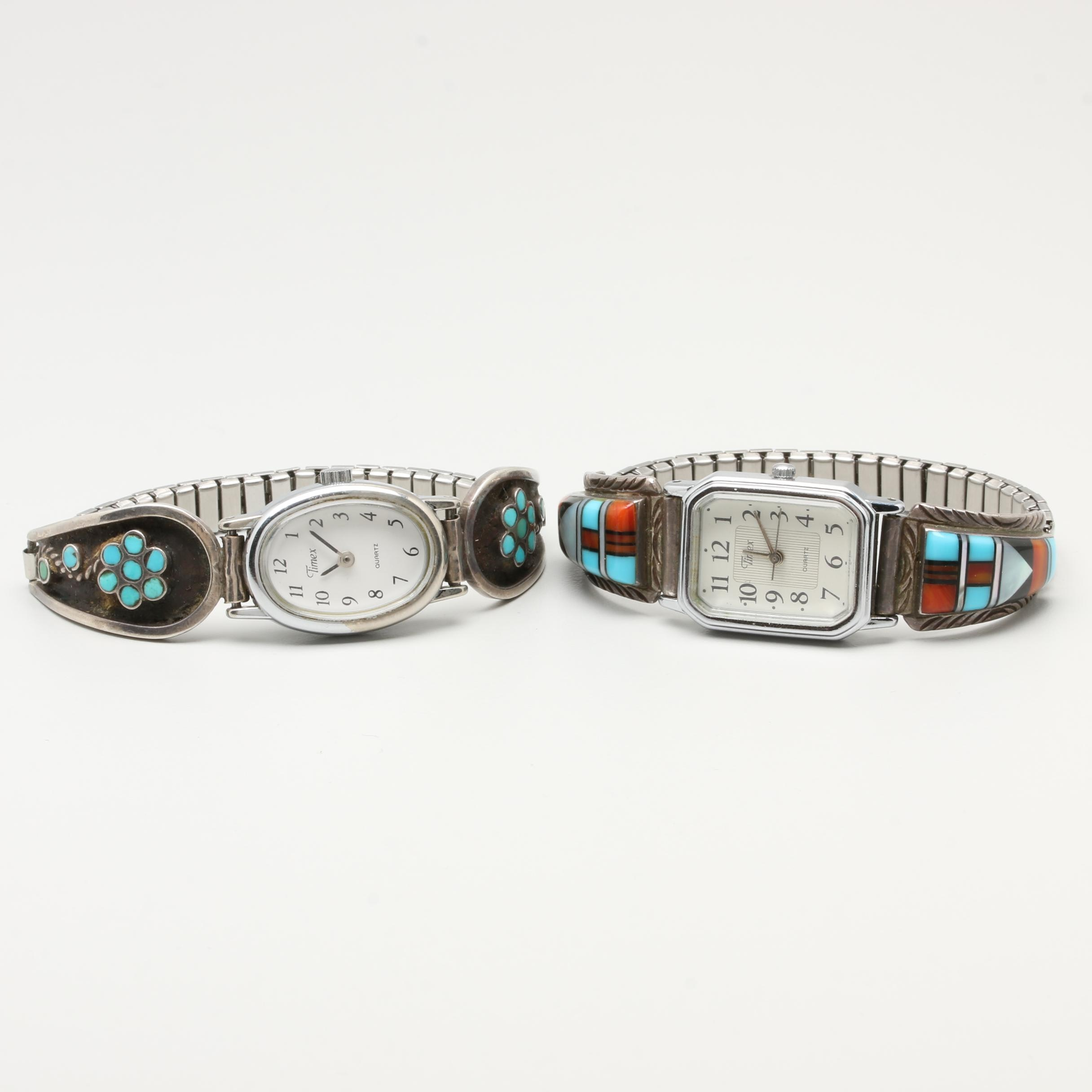 Timex Wristwatches Including Sterling, Turquoise, and Thomas Siow Zuni