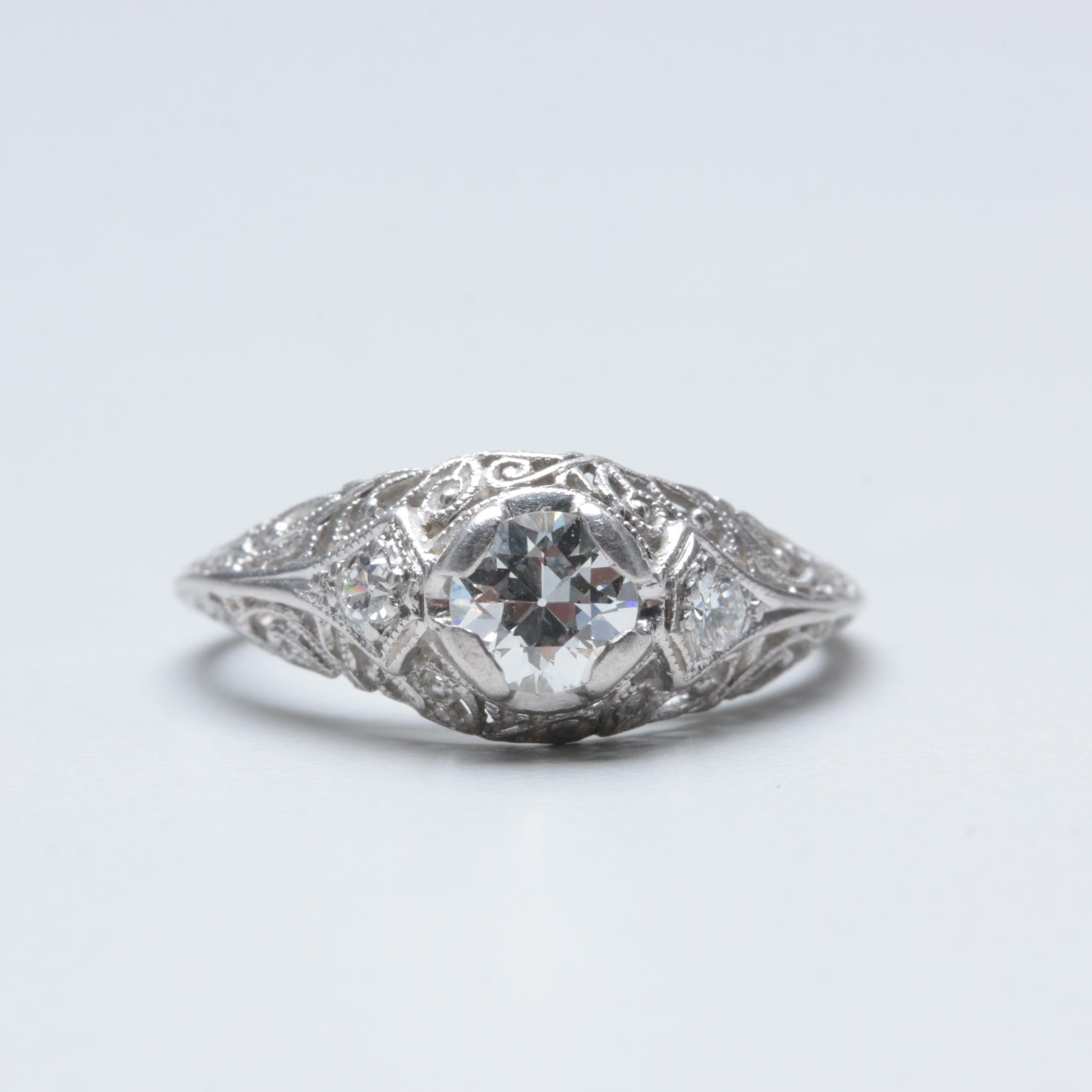 Platinum Diamond Filigree Ring
