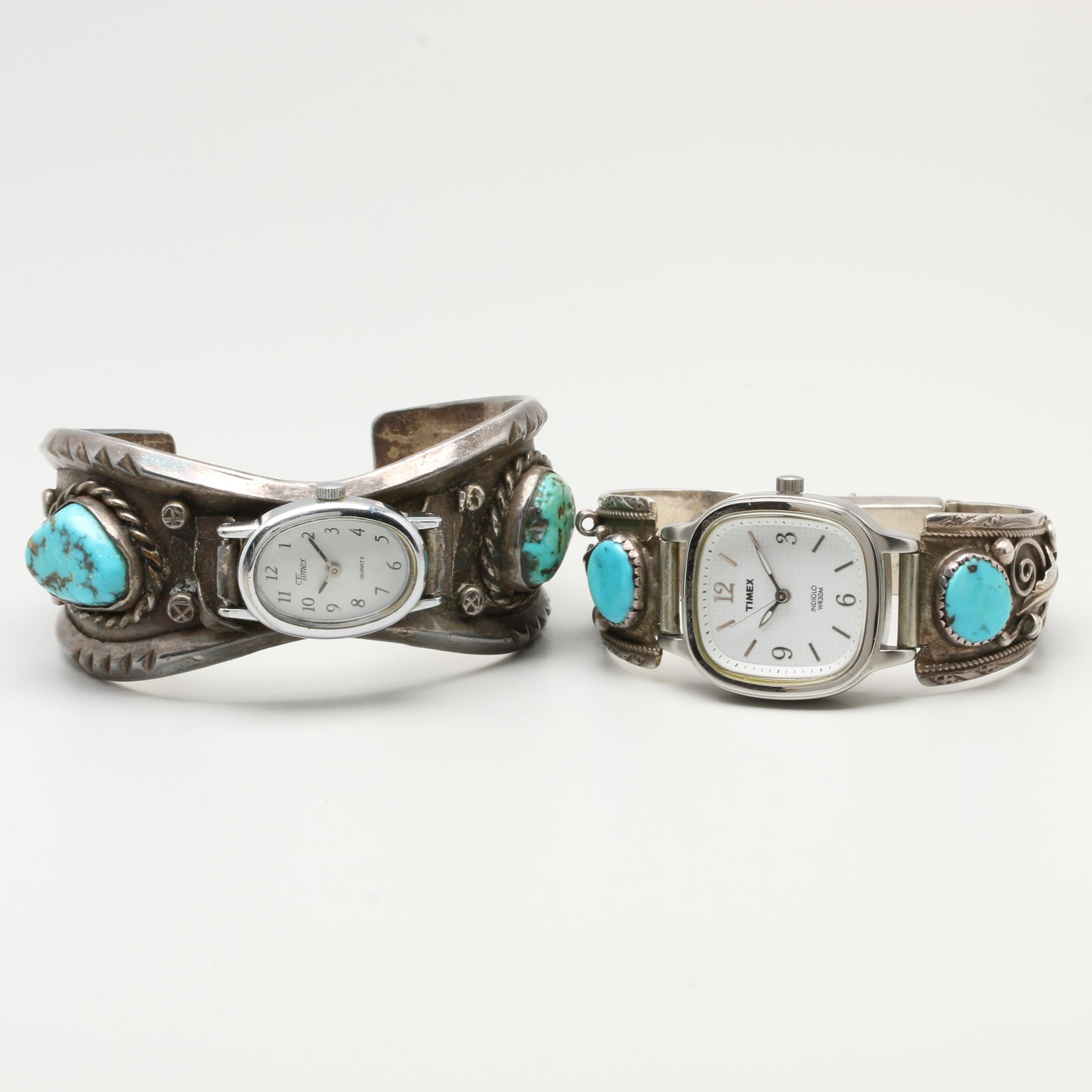Timex Wristwatches with Southwestern Style Sterling Bracelets and Turquoise