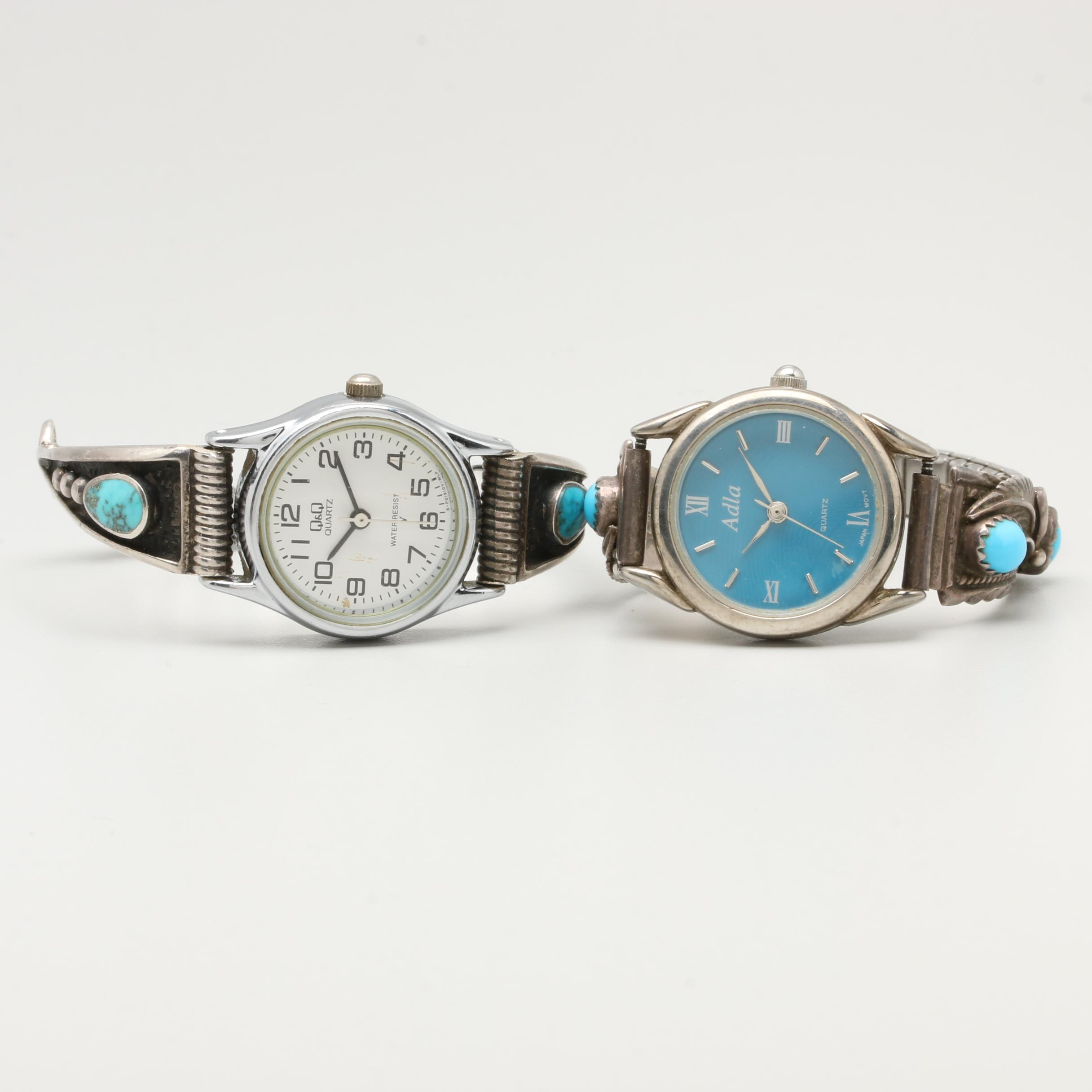 Sterling Silver and Silver Tone Turquoise Wristwatches Including Alda