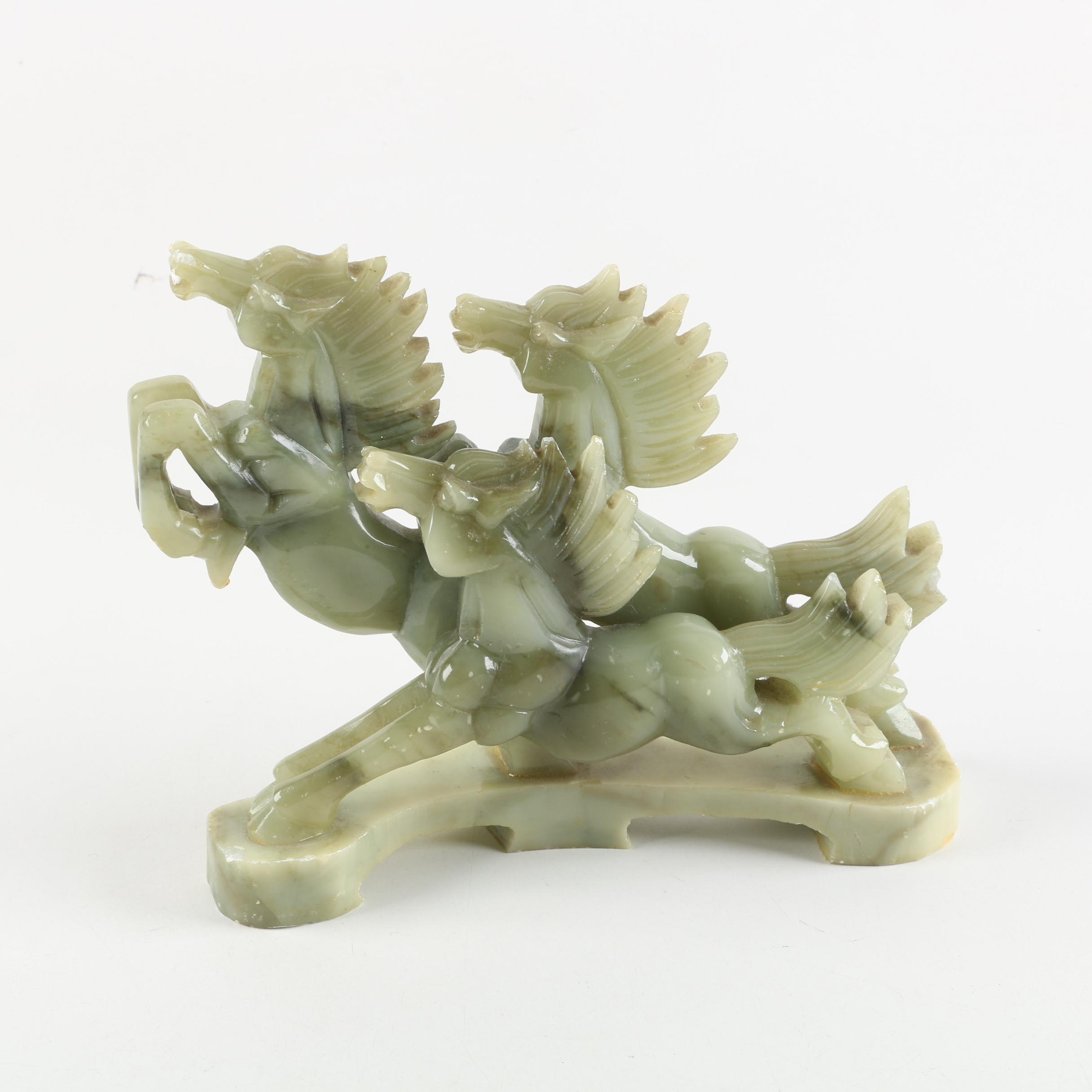 Chinese Carved Serpentine Galloping Horses Figurine