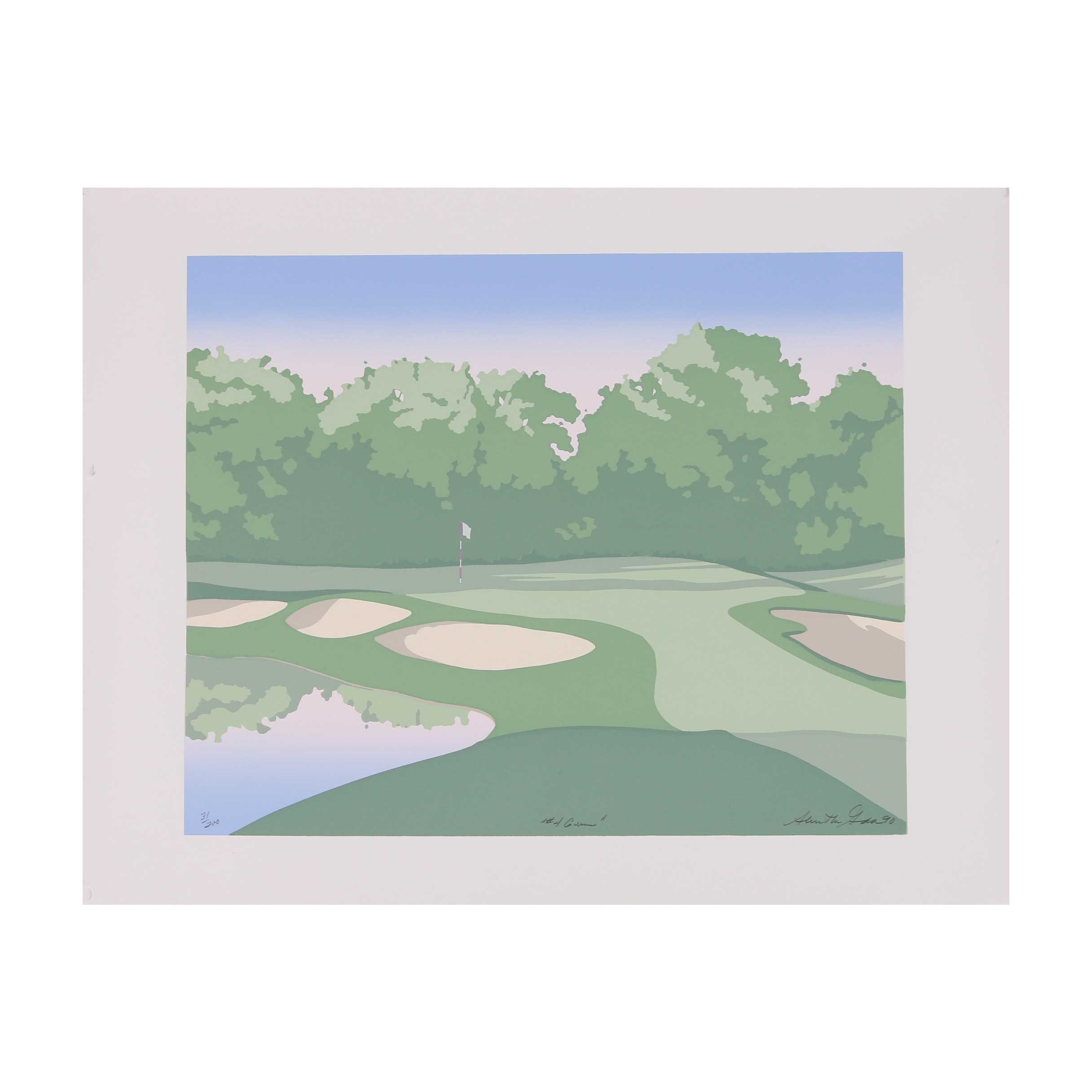 "Late 20th Century Serigraph ""#4 Green"""