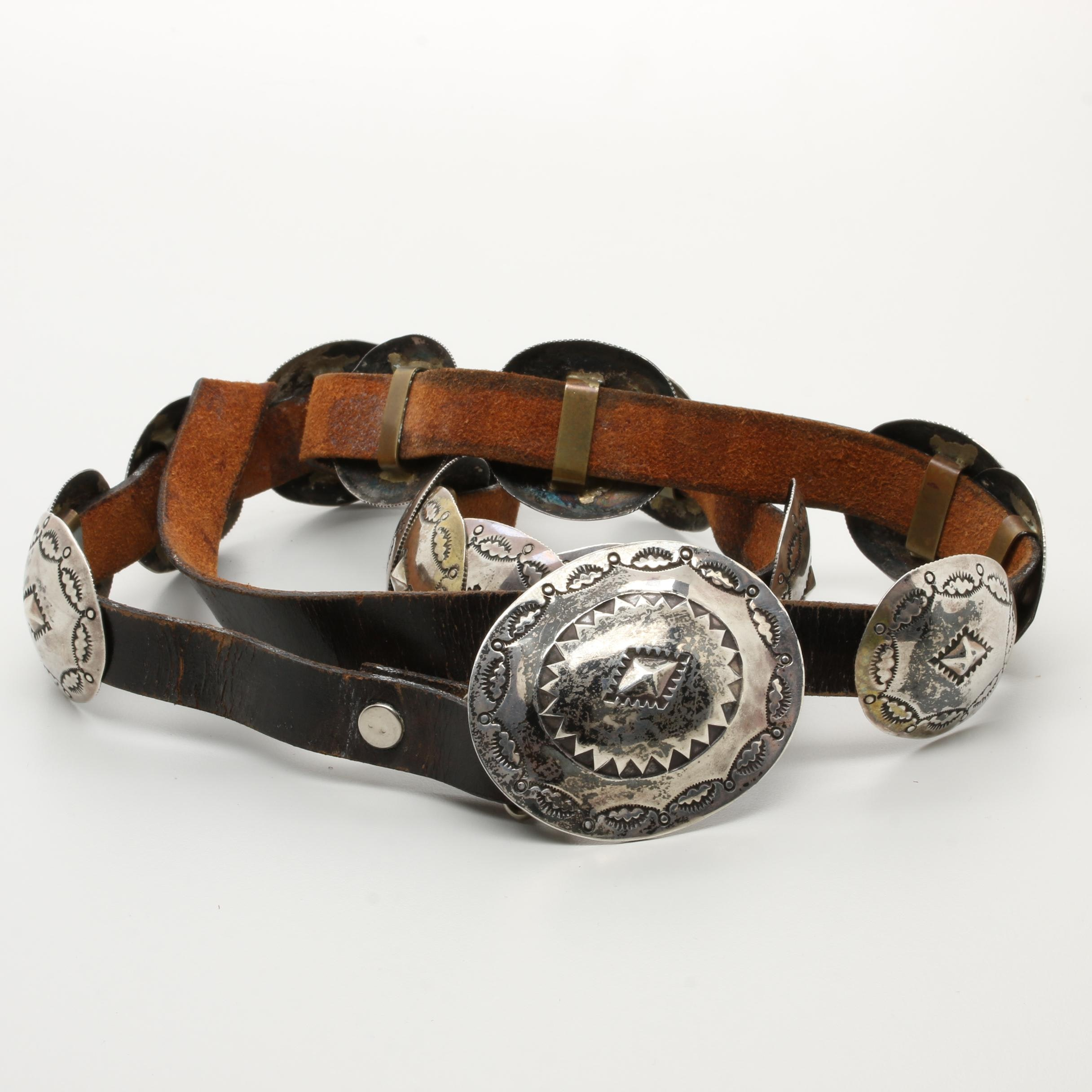 Sterling Silver and Leather Concho Style Belt