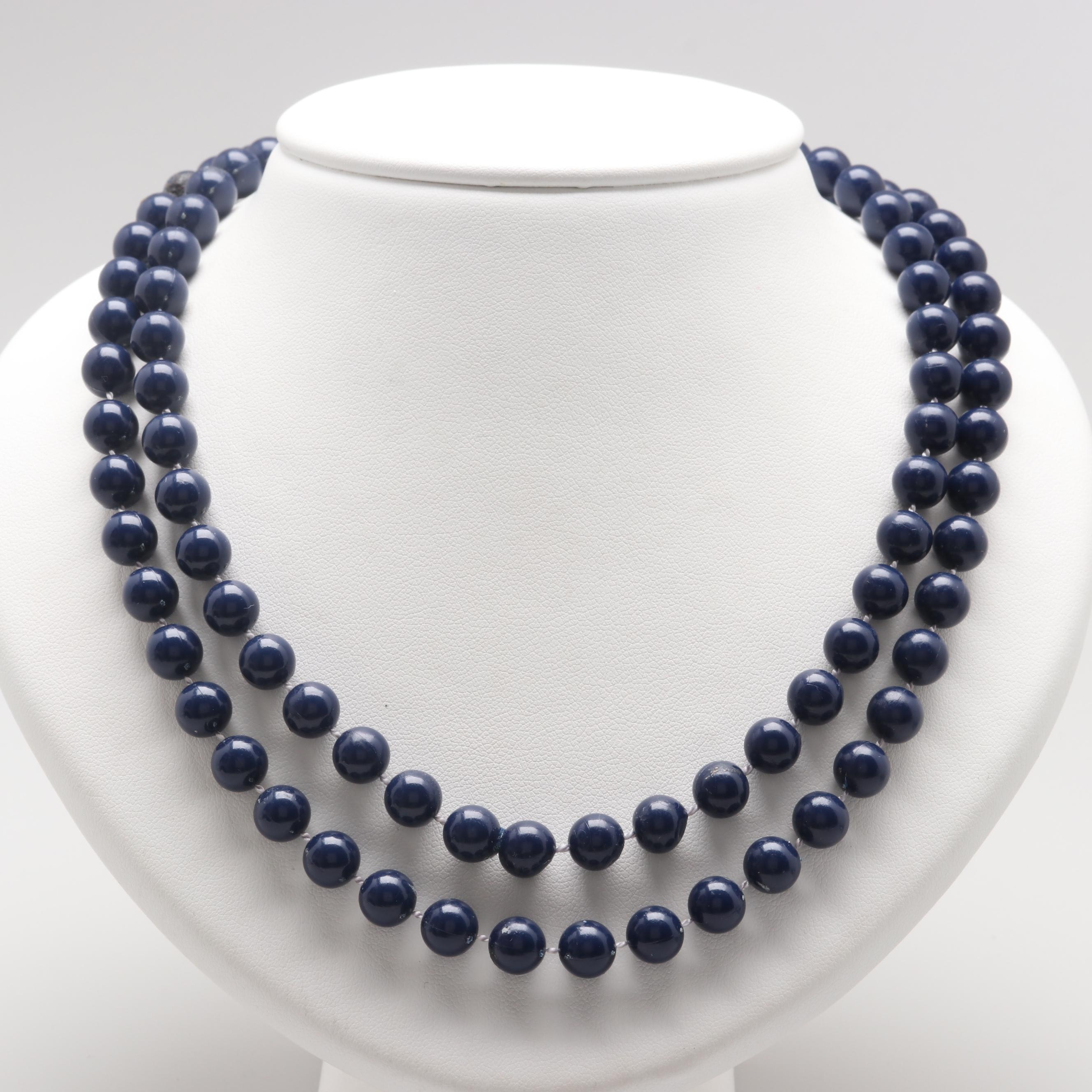 Endless Blue Plastic Beaded Necklace