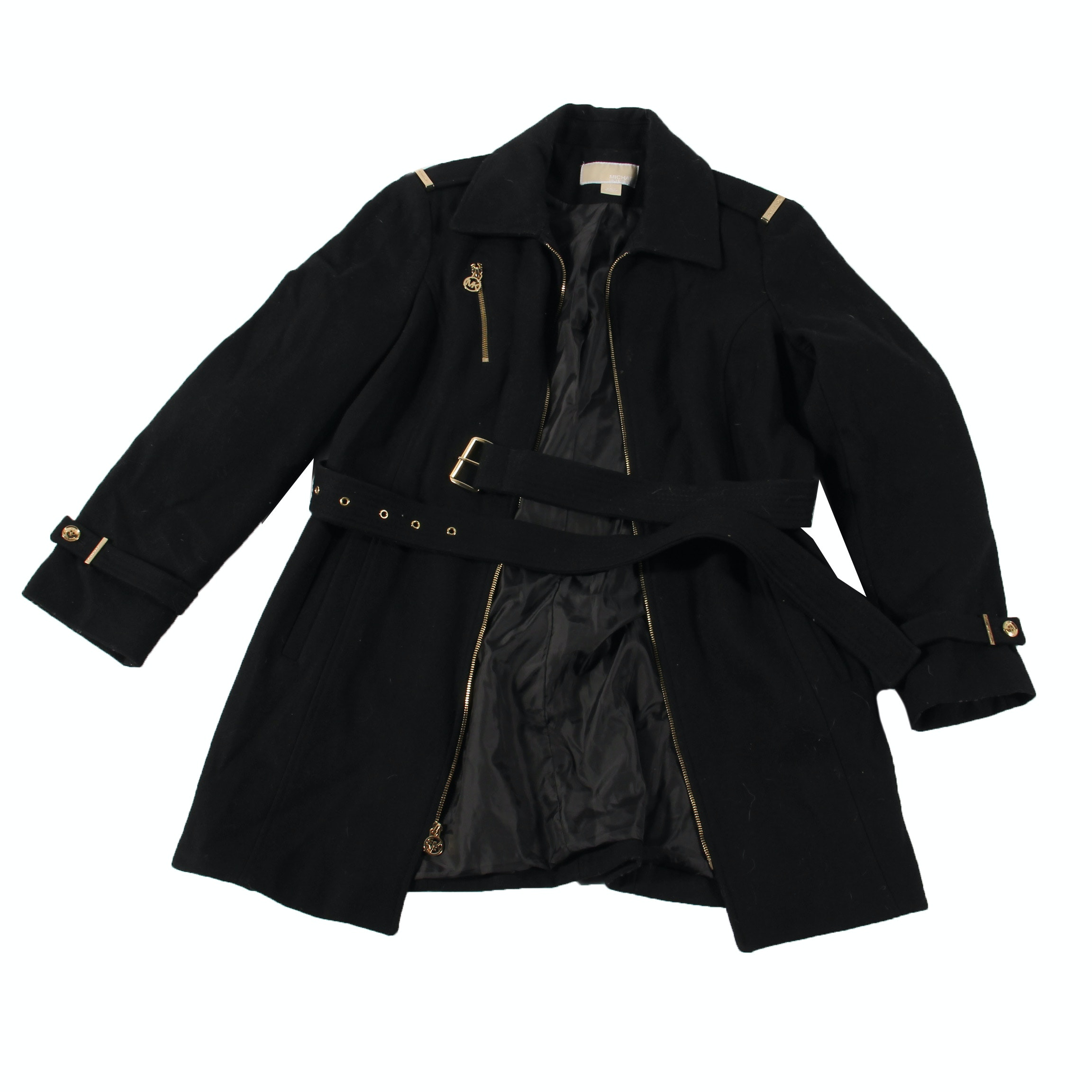 Women's MICHAEL Michael Kors Black Wool Blend Coat