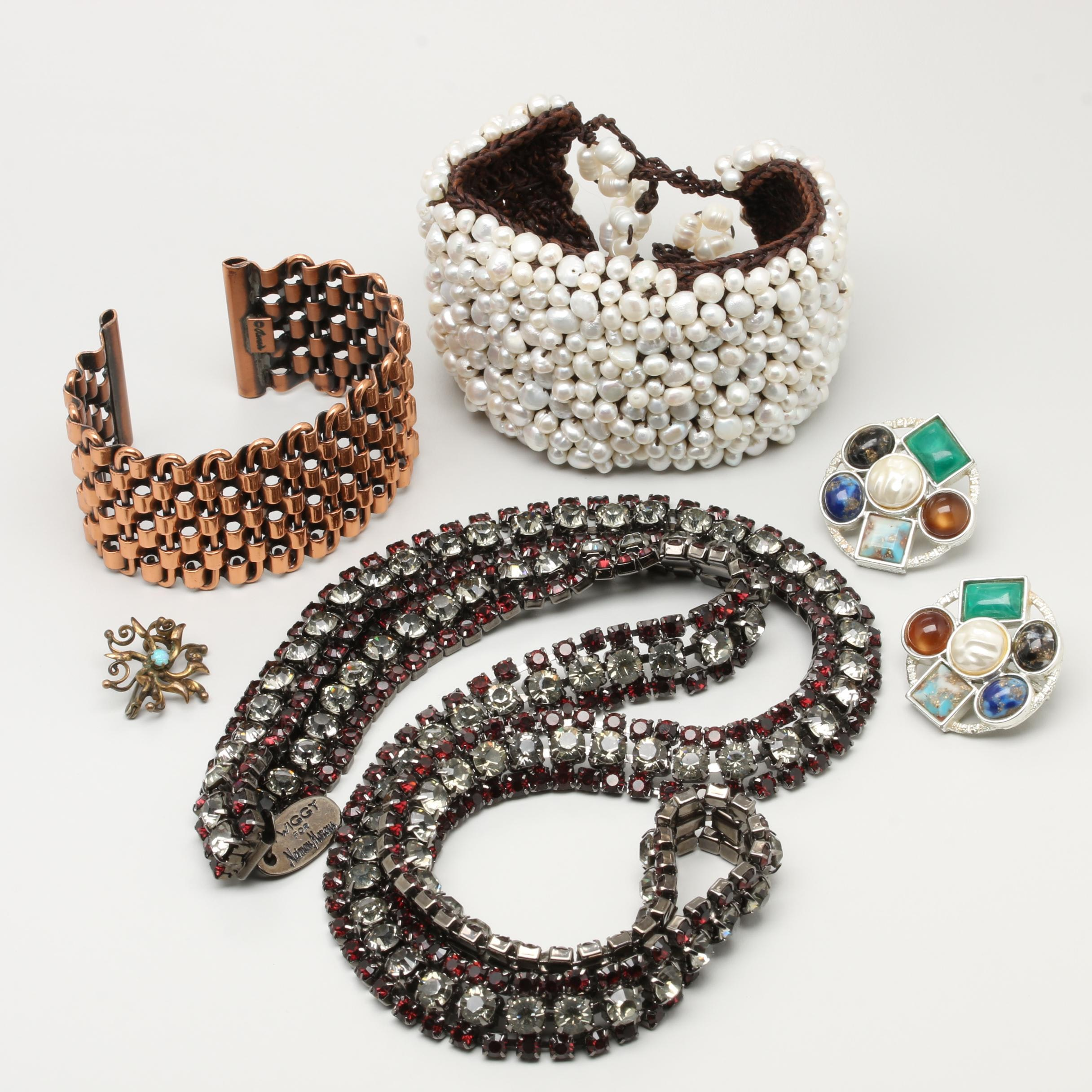 Jewelry Selection with Victorian Brooch and Twiggy for Neiman Marcus Necklace