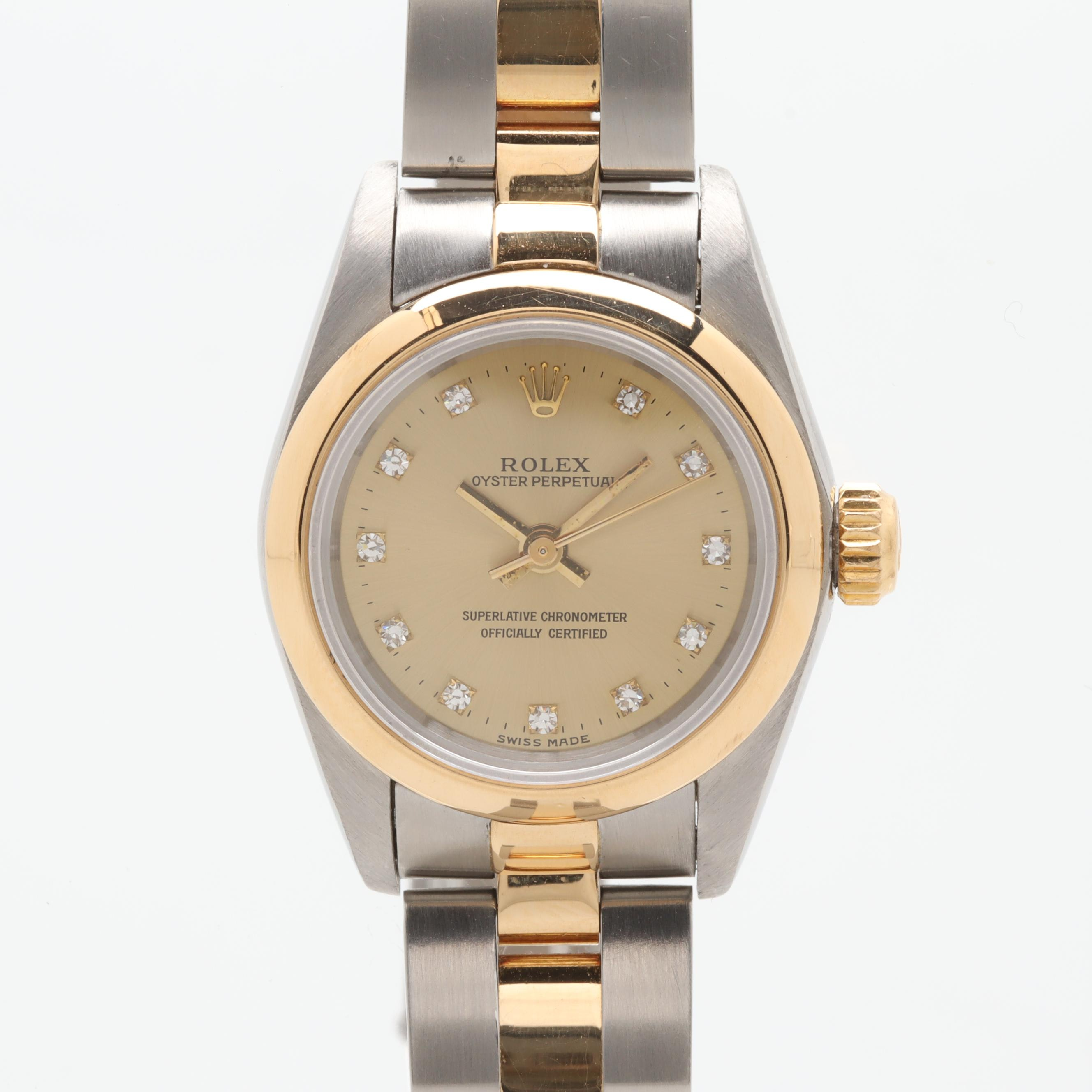 Rolex Perpetual 18K Yellow Gold and Stainless Steel Diamond Wristwatch