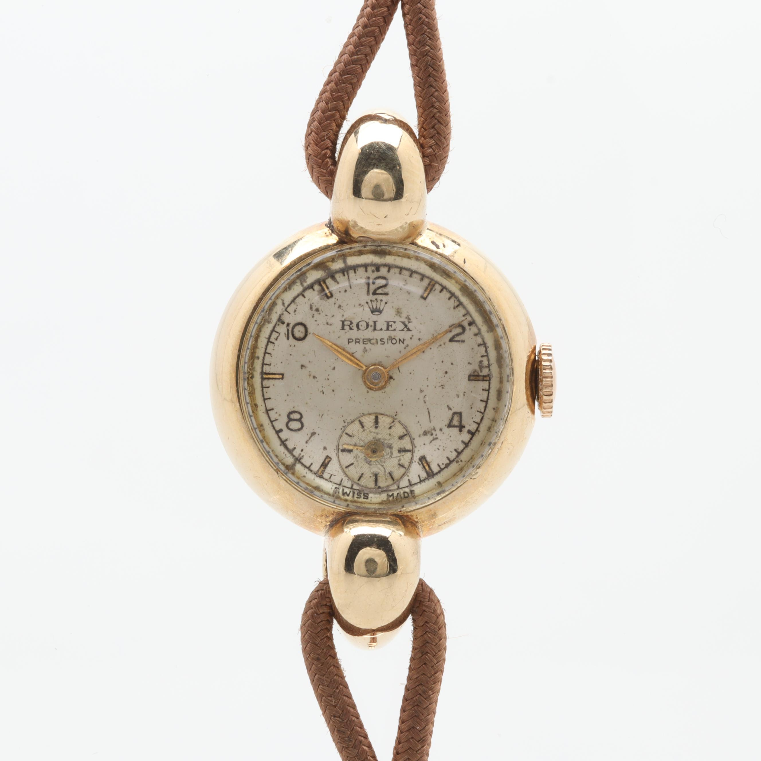 Circa 1920s Rolex 9K Yellow Gold Wristwatch
