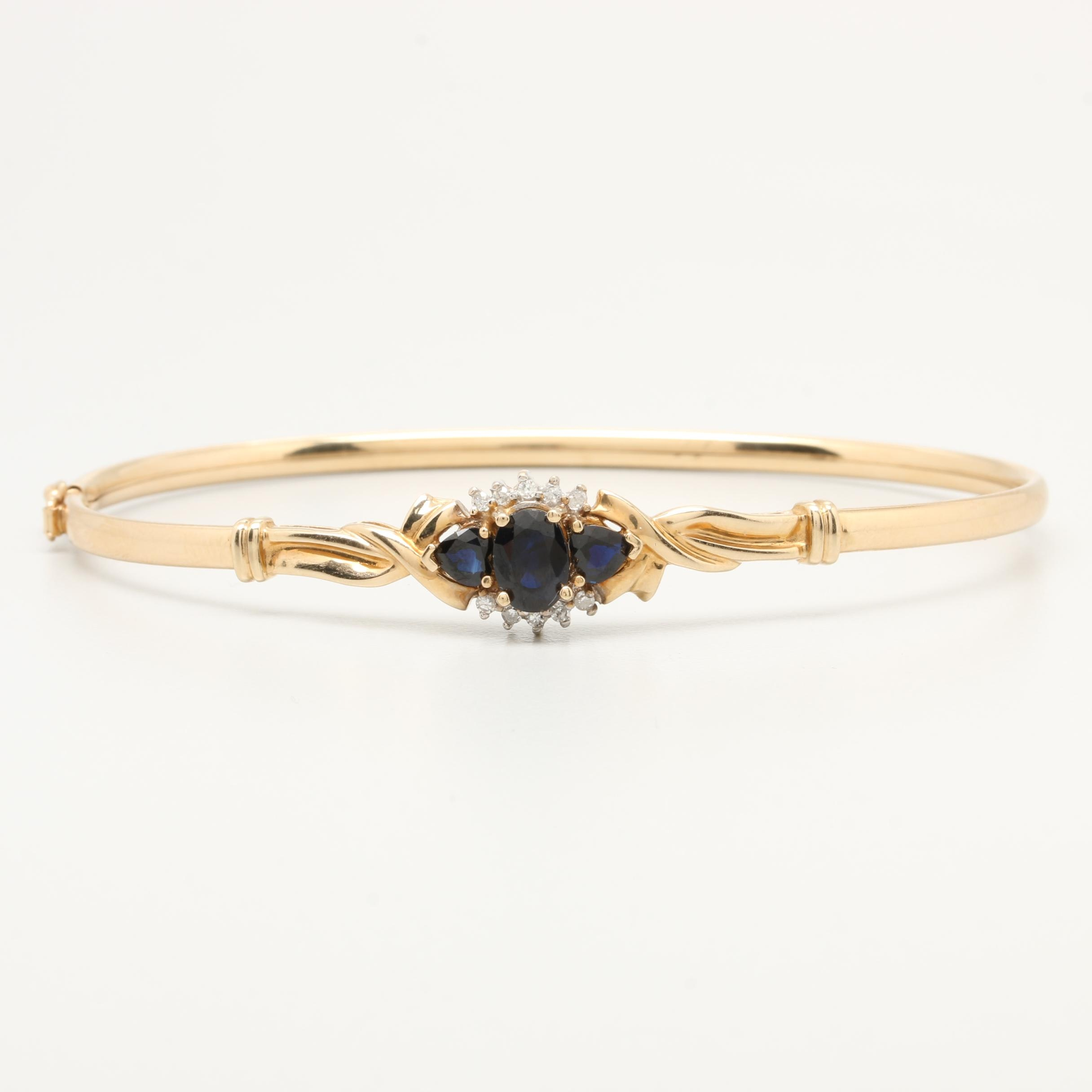 10K Yellow Gold Sapphire and Diamond Flexible Bangle